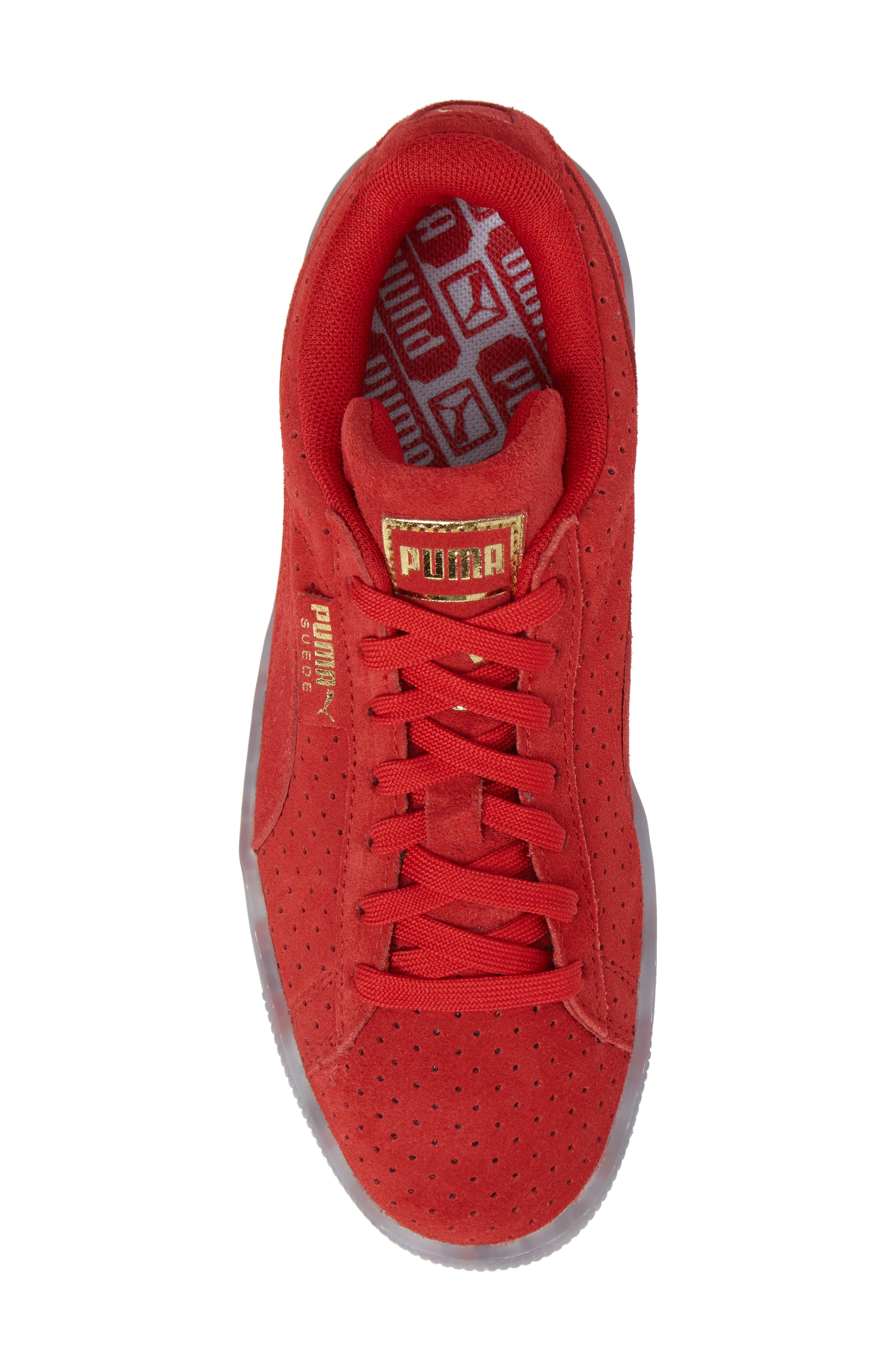Suede Classic Perforated Sneaker,                             Alternate thumbnail 5, color,                             High Risk Red/ Puma White