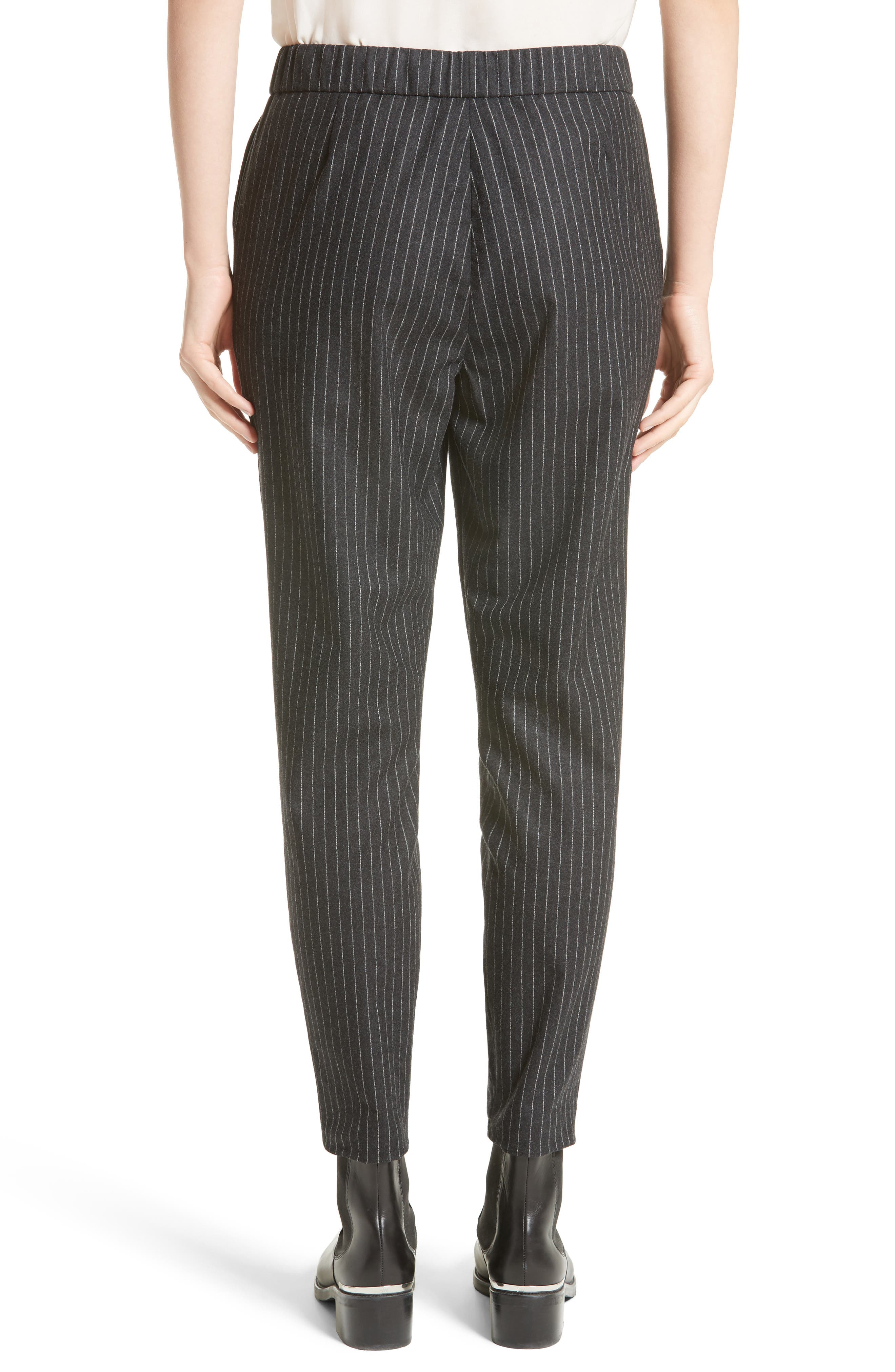 Pinstripe Wool Flannel Pants,                             Alternate thumbnail 2, color,                             Charcoal