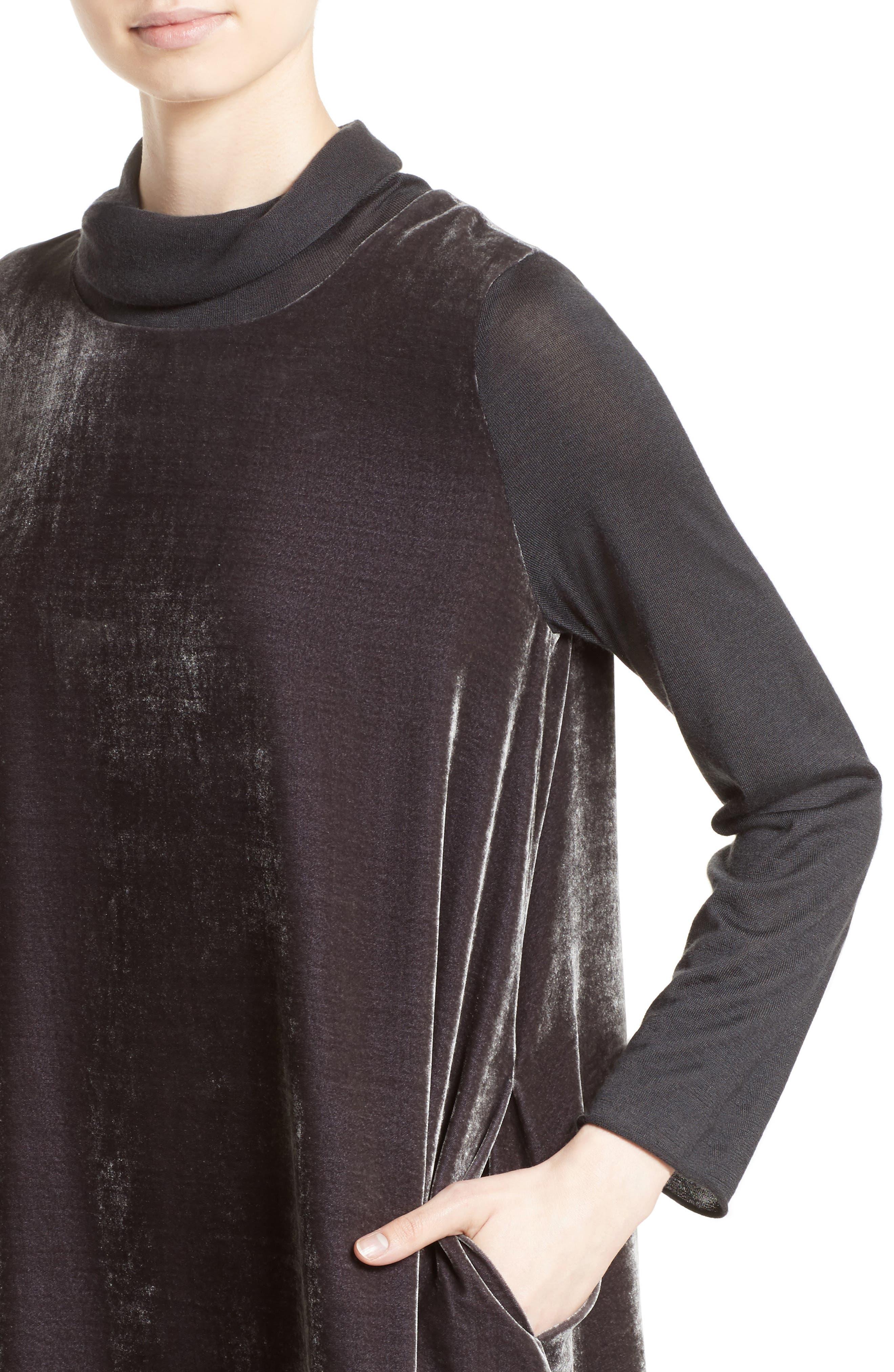 Velvet Turtleneck Dress,                             Alternate thumbnail 7, color,                             Charcoal
