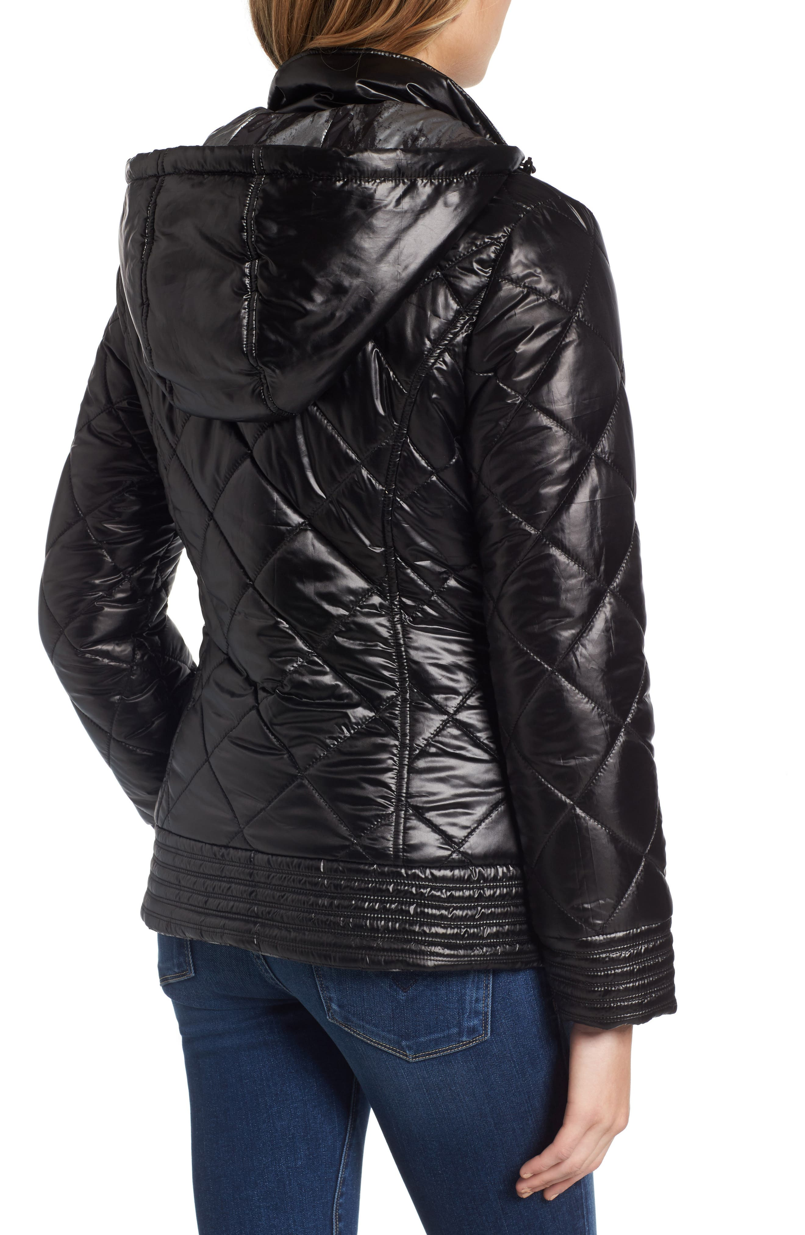 Reversible Packable Asymmetrical Quilted Jacket,                             Alternate thumbnail 2, color,                             Black/ Silver