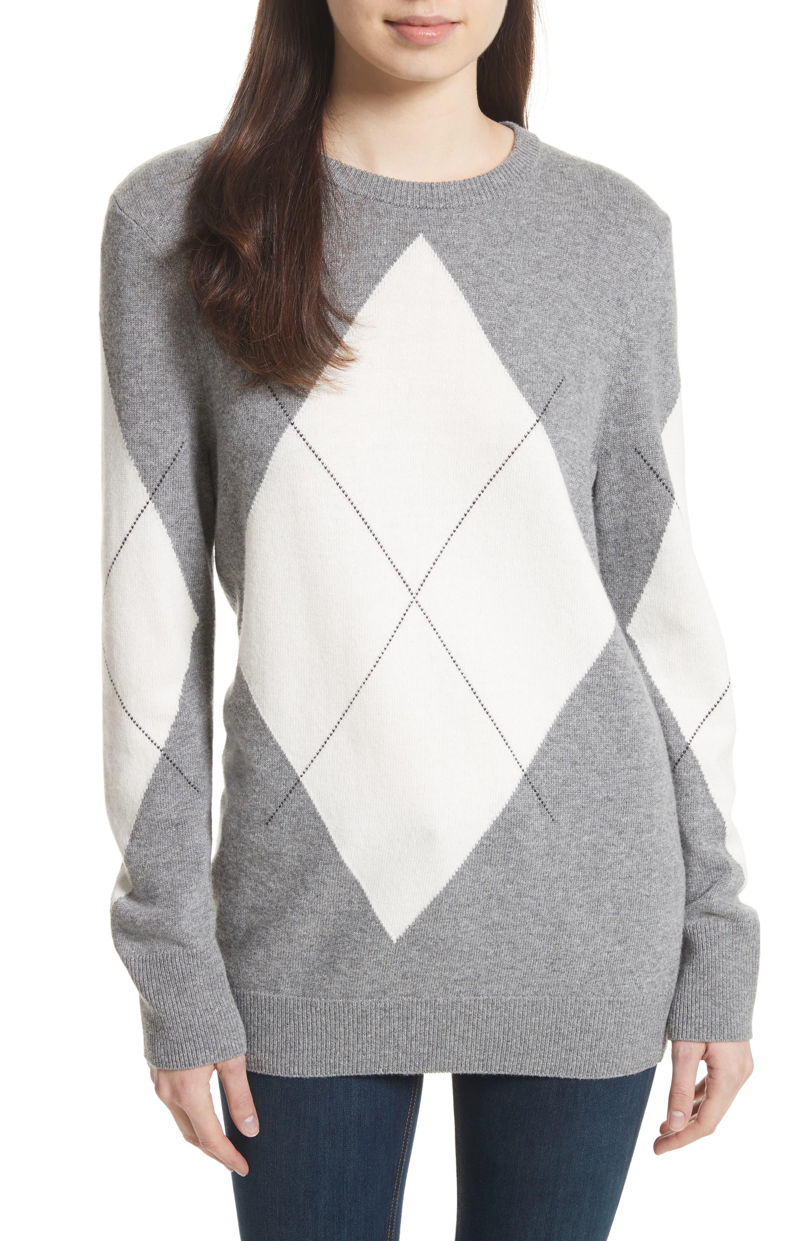 Rei Argyle Crewneck Sweater,                         Main,                         color, Heather Grey Multi