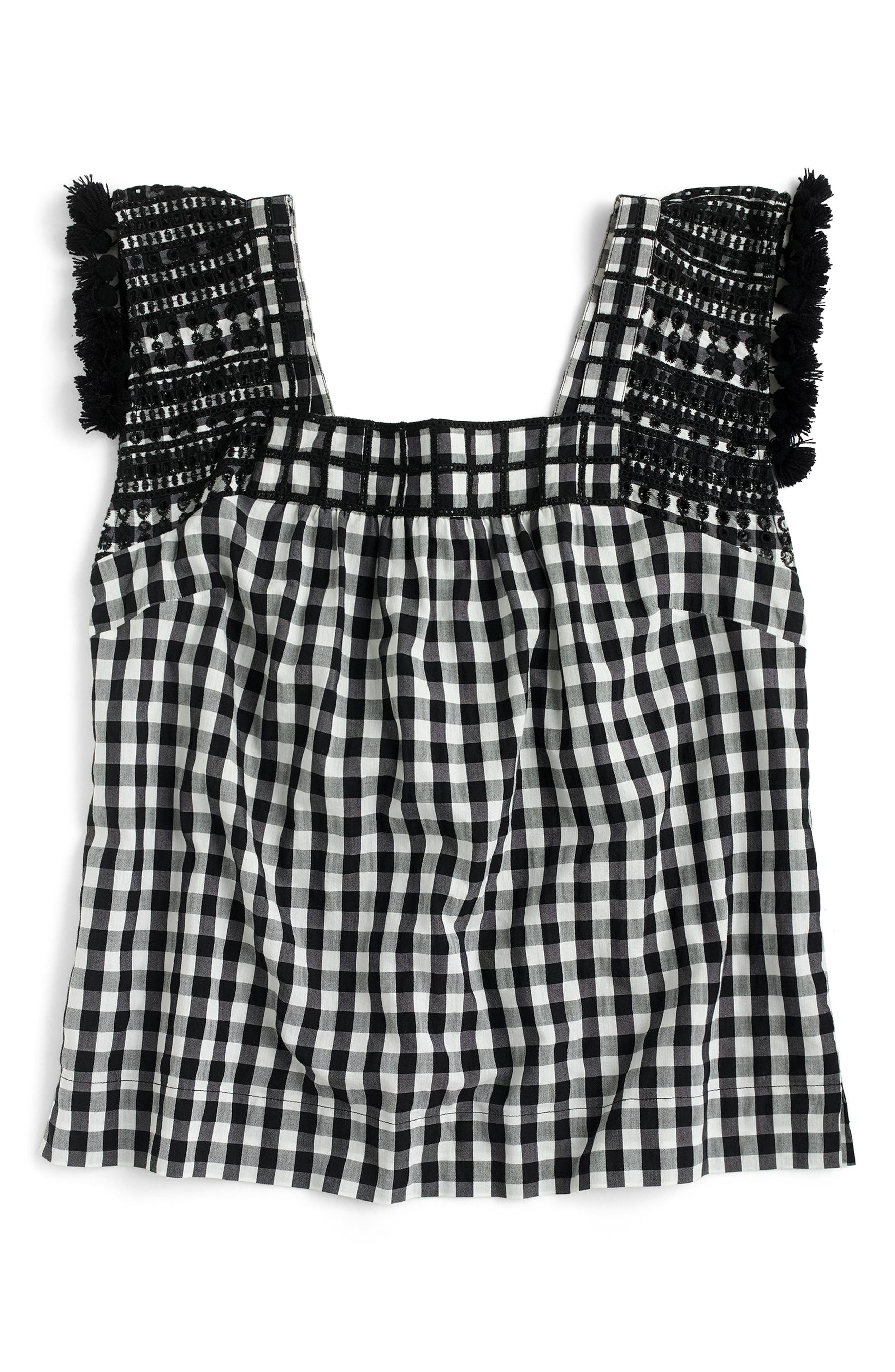 J.Crew Embroidered Gingham Top,                             Alternate thumbnail 3, color,                             Black