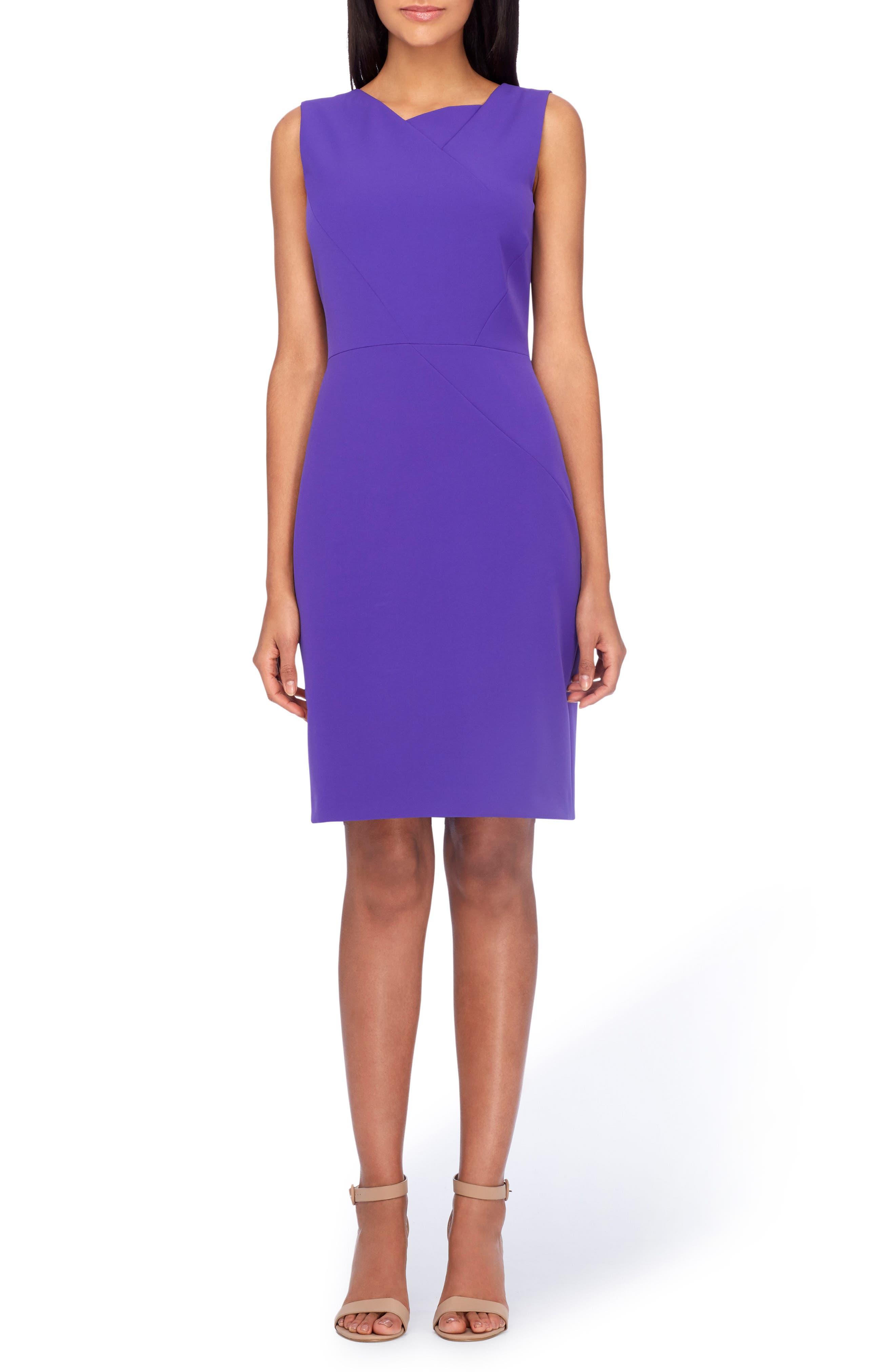 Tahari Asymmetrical Sheath Dress (Regular & Petite)