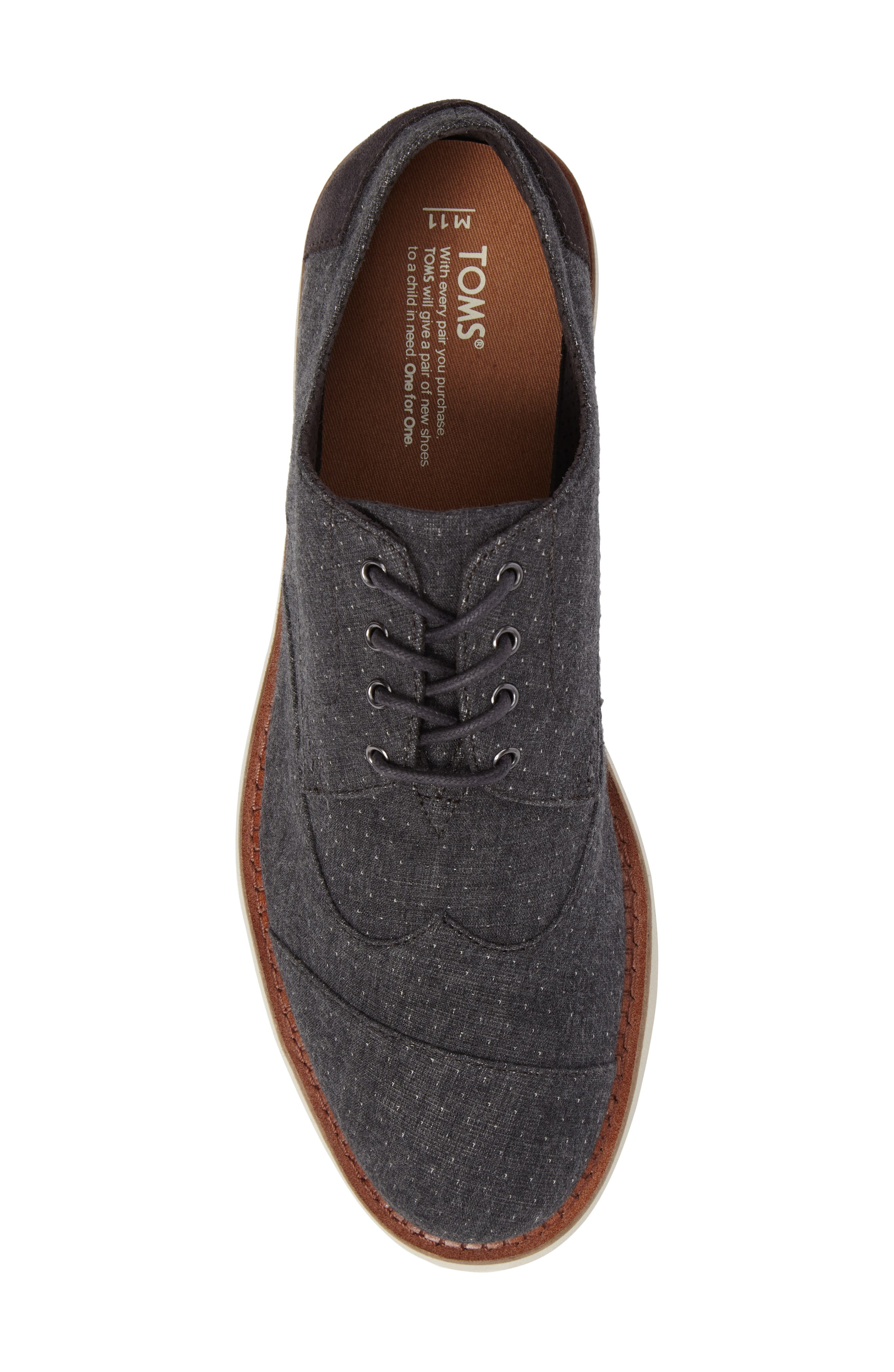 'Classic Brogue' Cotton Twill Derby,                             Alternate thumbnail 5, color,                             Grey