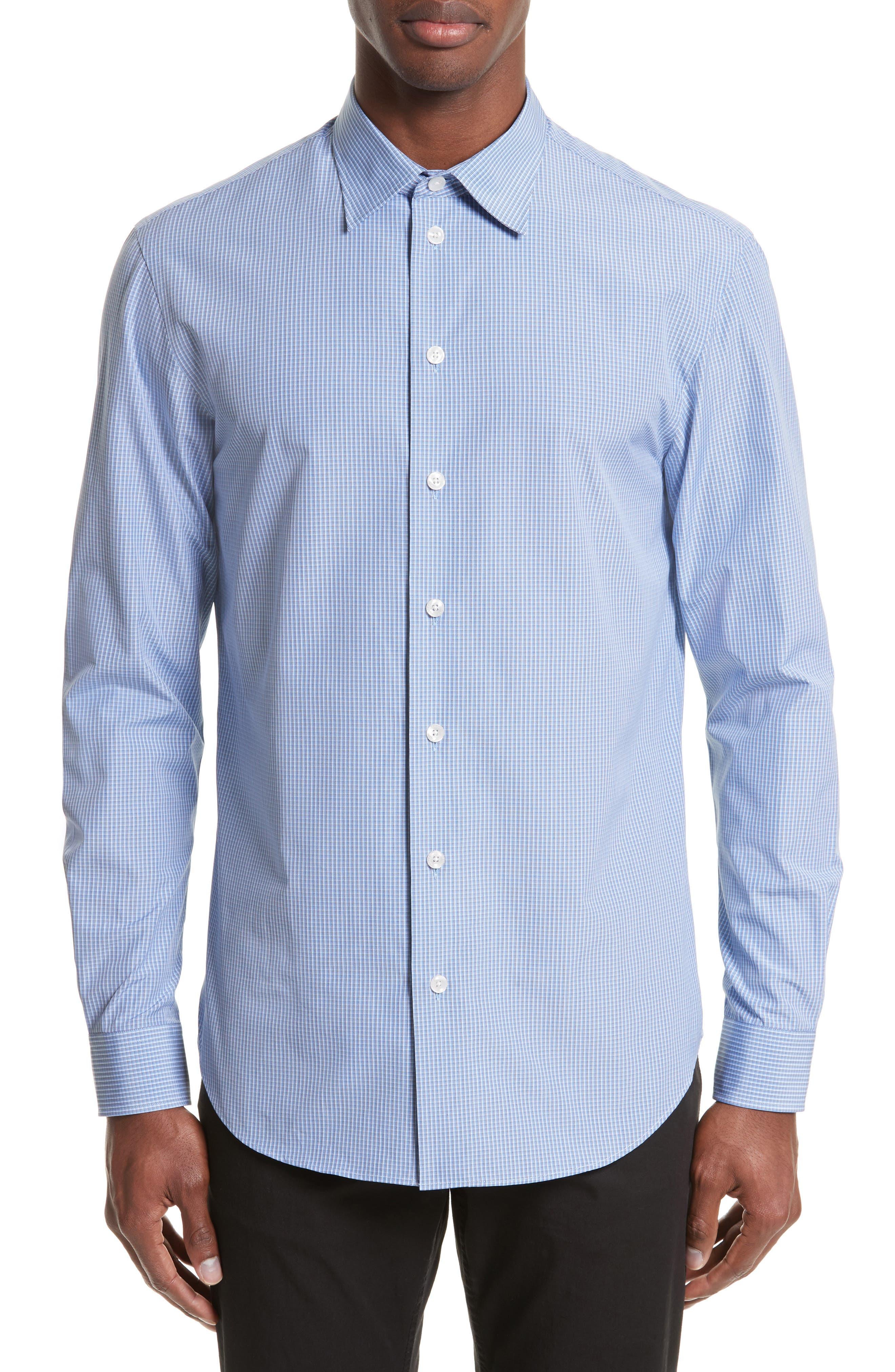 Micro Check Sport Shirt,                         Main,                         color, Checked Light Blue