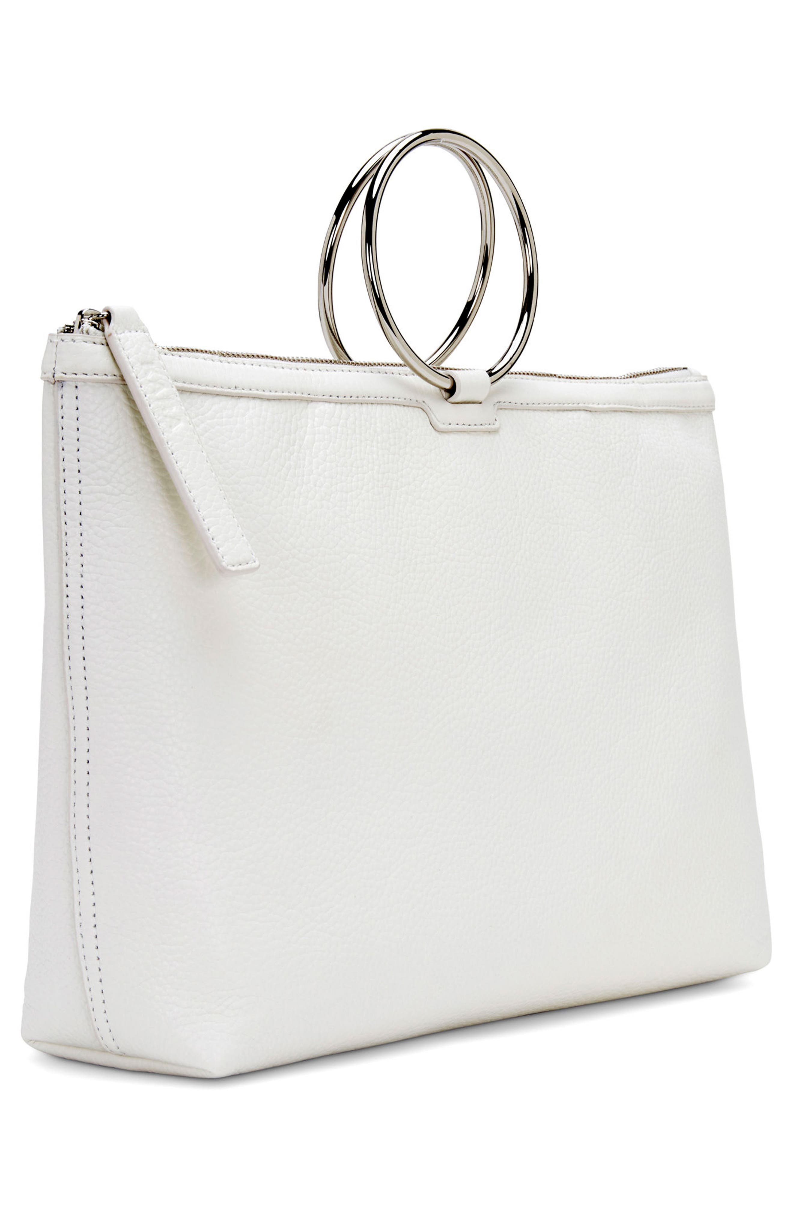 Large Pebbled Leather Ring Clutch,                             Alternate thumbnail 5, color,                             Off White