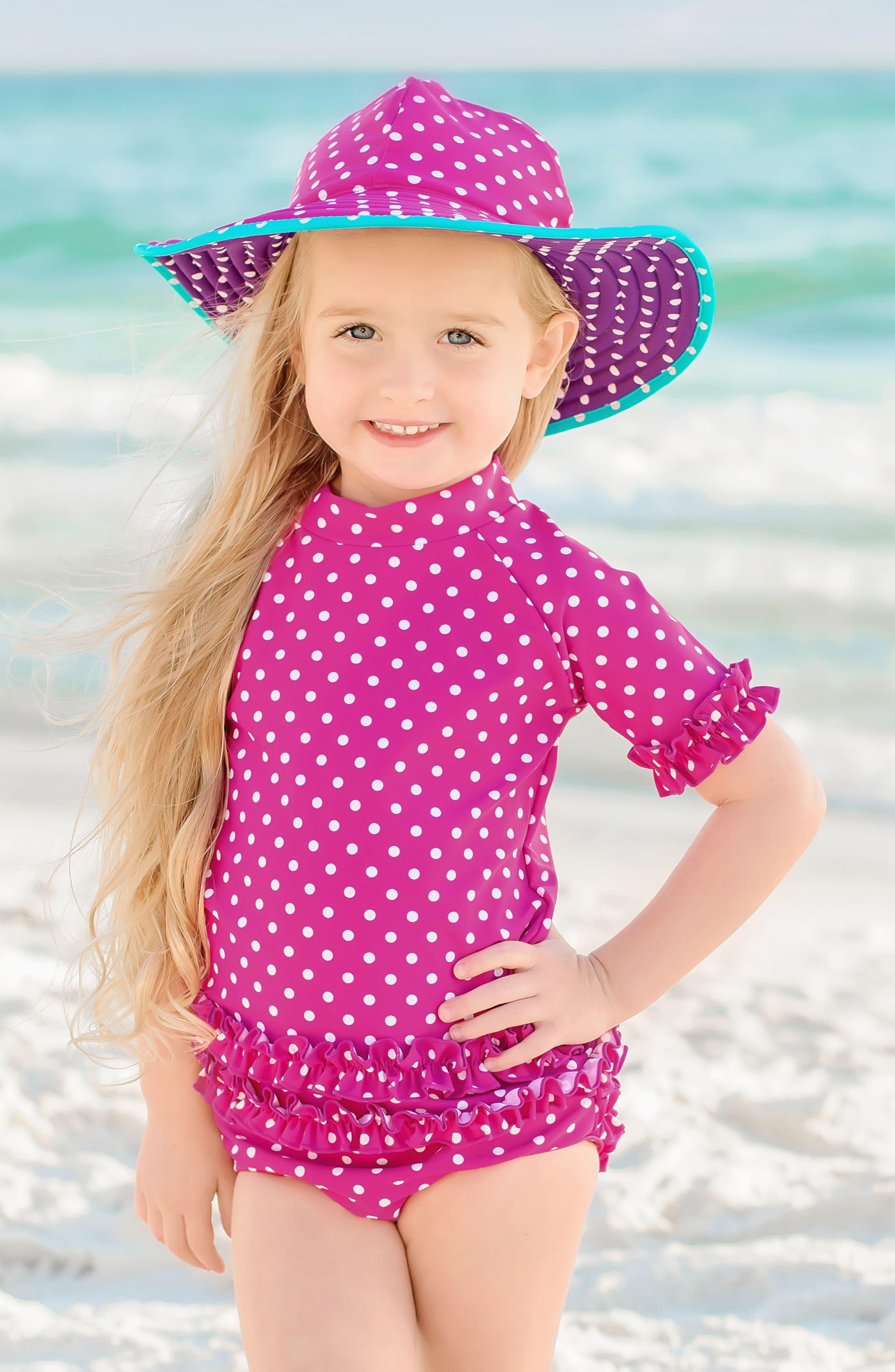 Two-Piece Rashguard Swimsuit & Hat Set,                             Alternate thumbnail 2, color,                             Berry