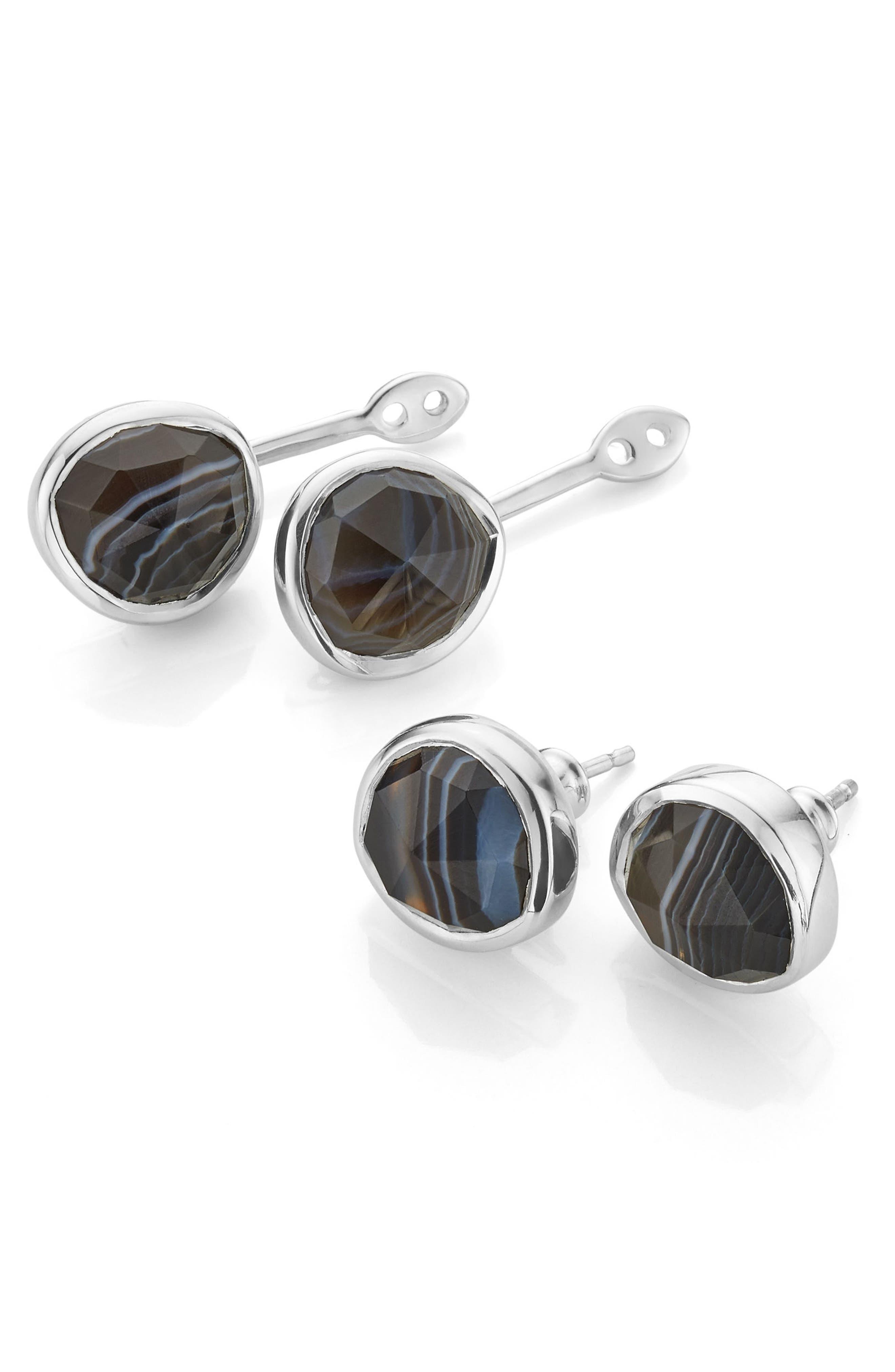 Siren Semiprecious Stone Ear Jackets,                         Main,                         color, Silver/ Black Line Onyx