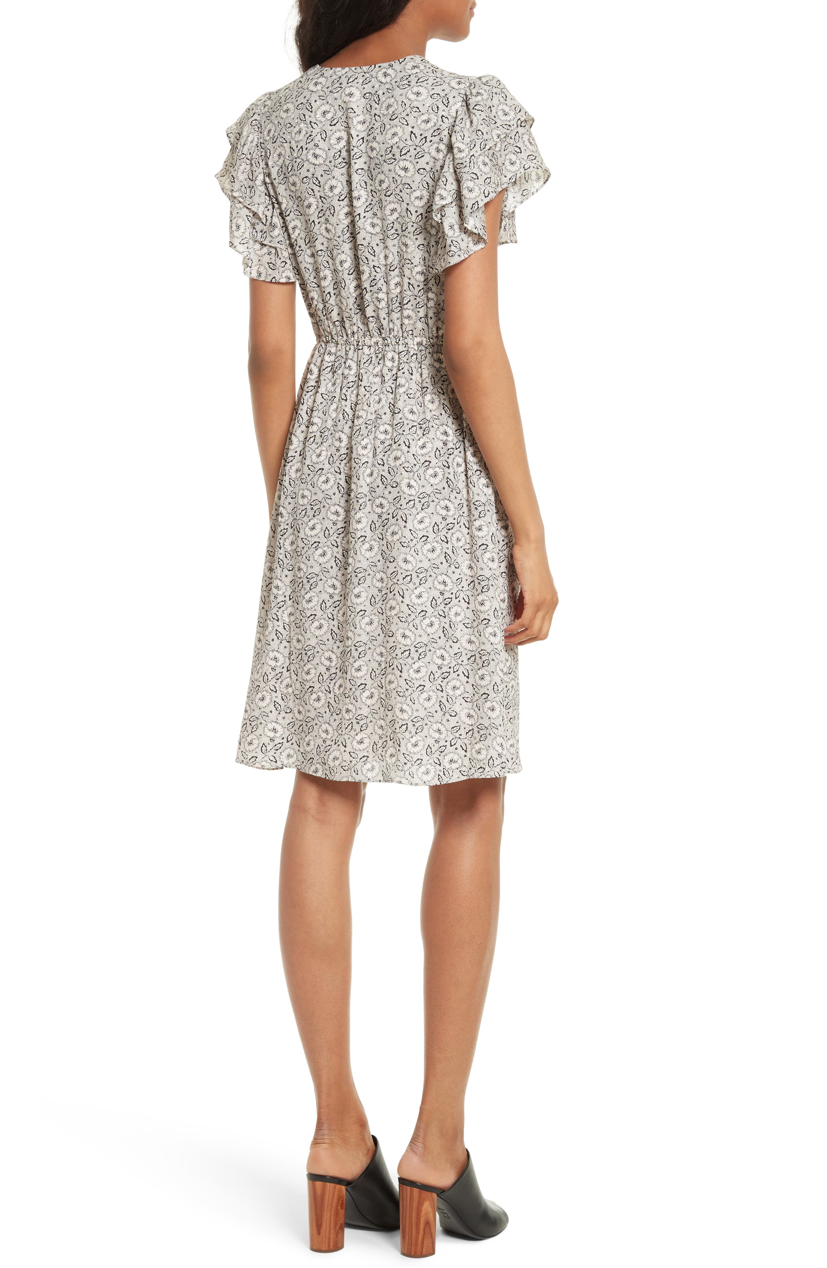Floral A-Line Silk Dress,                             Alternate thumbnail 2, color,                             Cream Combo