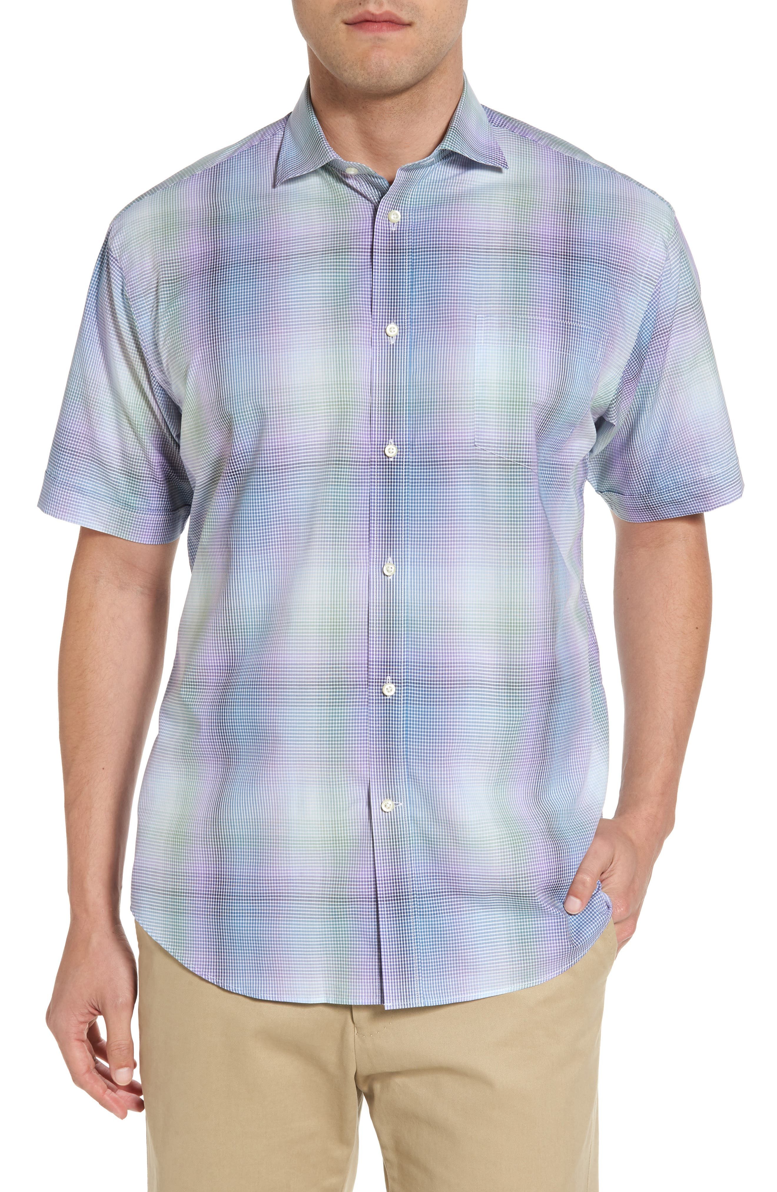 Classic Fit Shadow Check Sport Shirt,                         Main,                         color, Purple