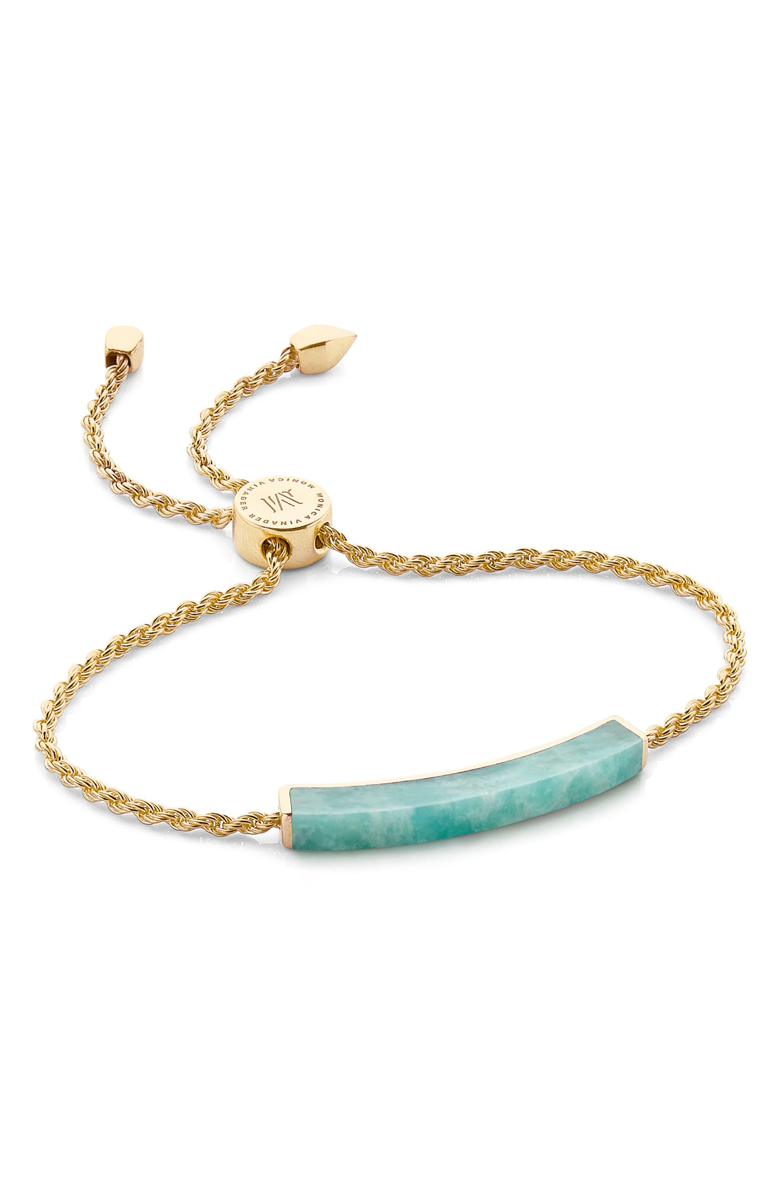 Linear Semiprecious Stone Friendship Bracelet,                             Main thumbnail 1, color,                             Gold/ Amazonite