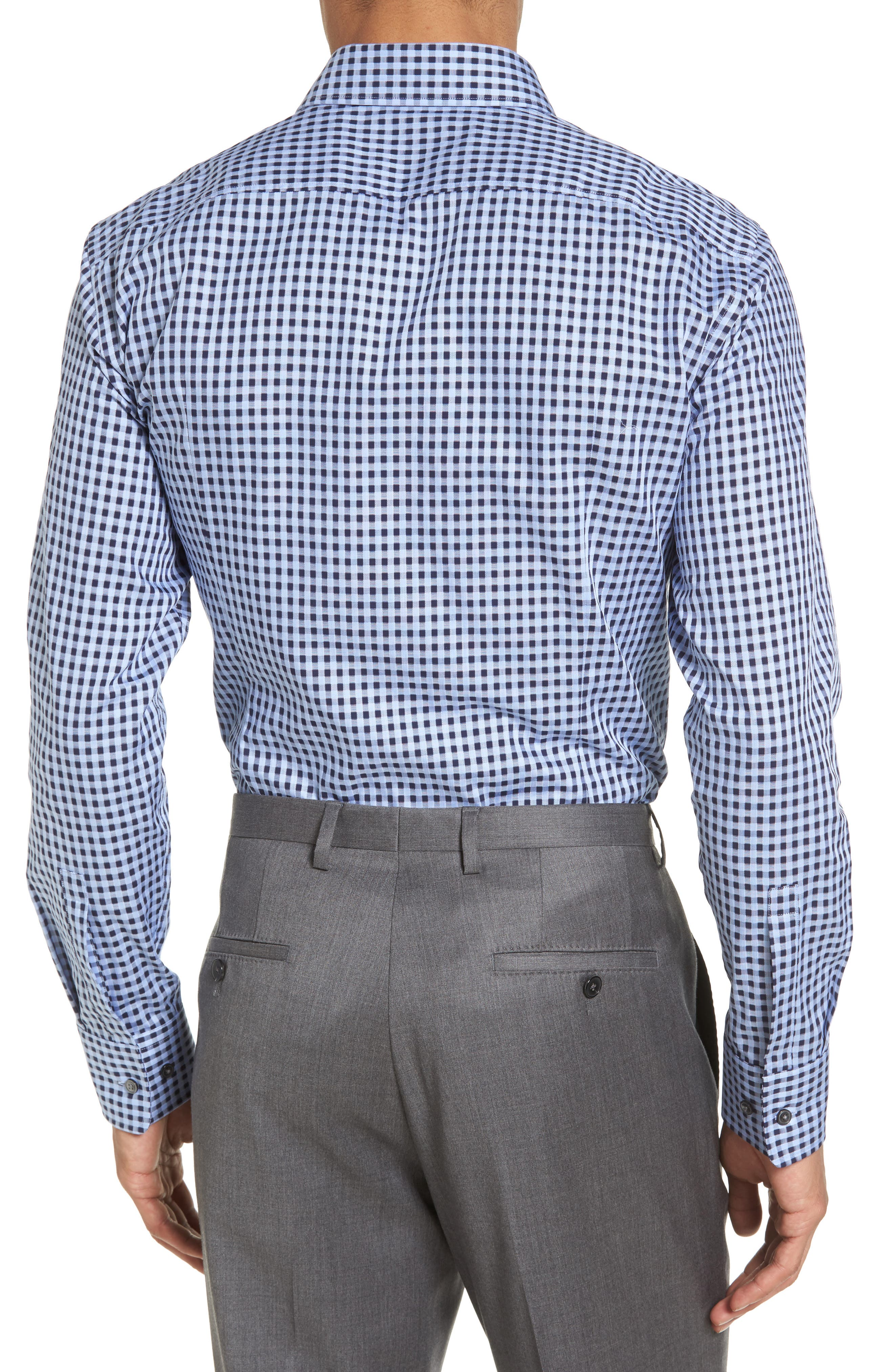 Sharp Fit Check Dress Shirt,                             Alternate thumbnail 3, color,                             Blue