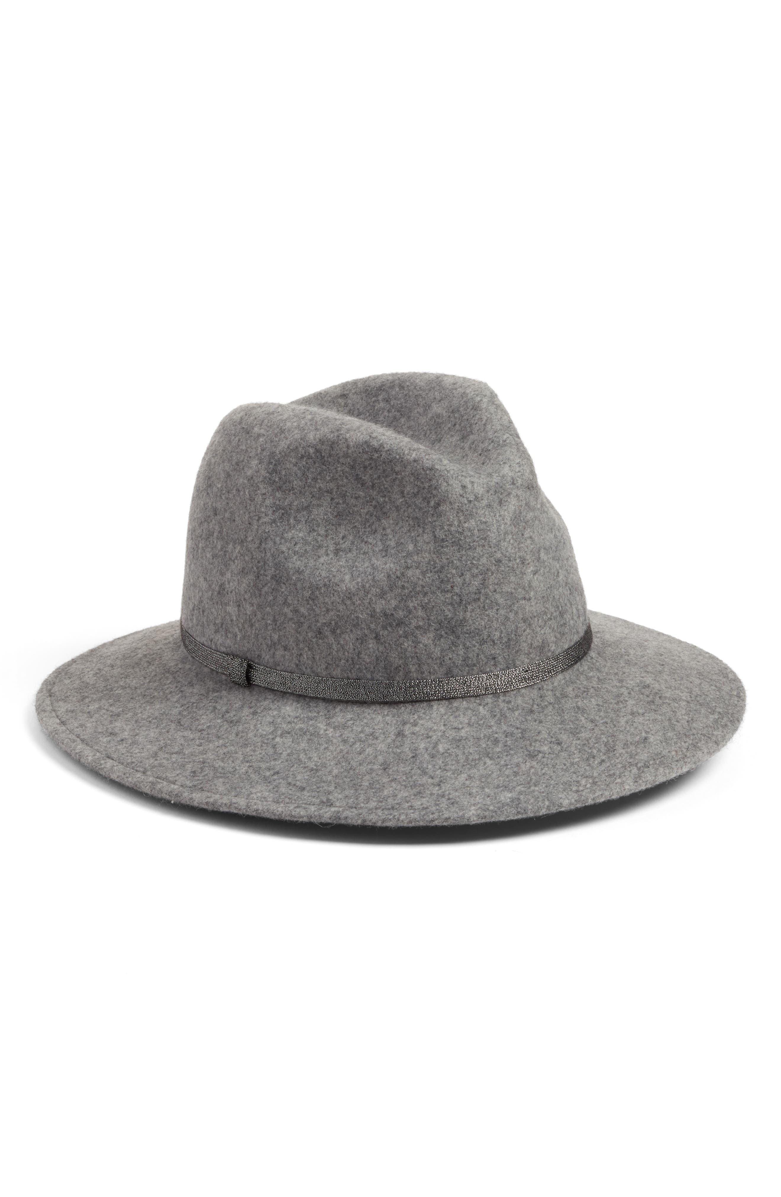 Metallic Band Wool Felt Panama Hat,                         Main,                         color, Grey Light Heather