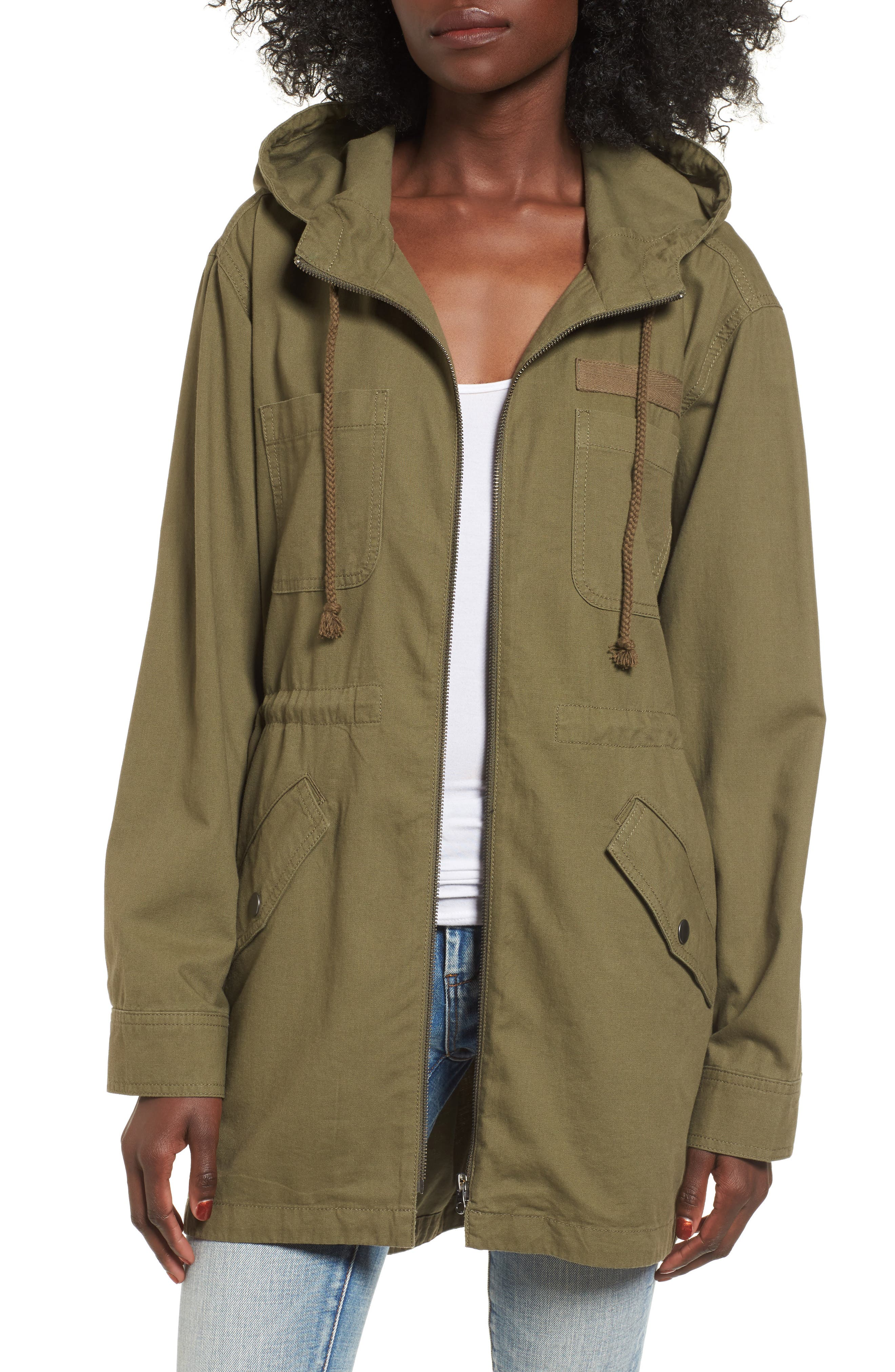 Hooded Anorak,                         Main,                         color, Olive Burnt