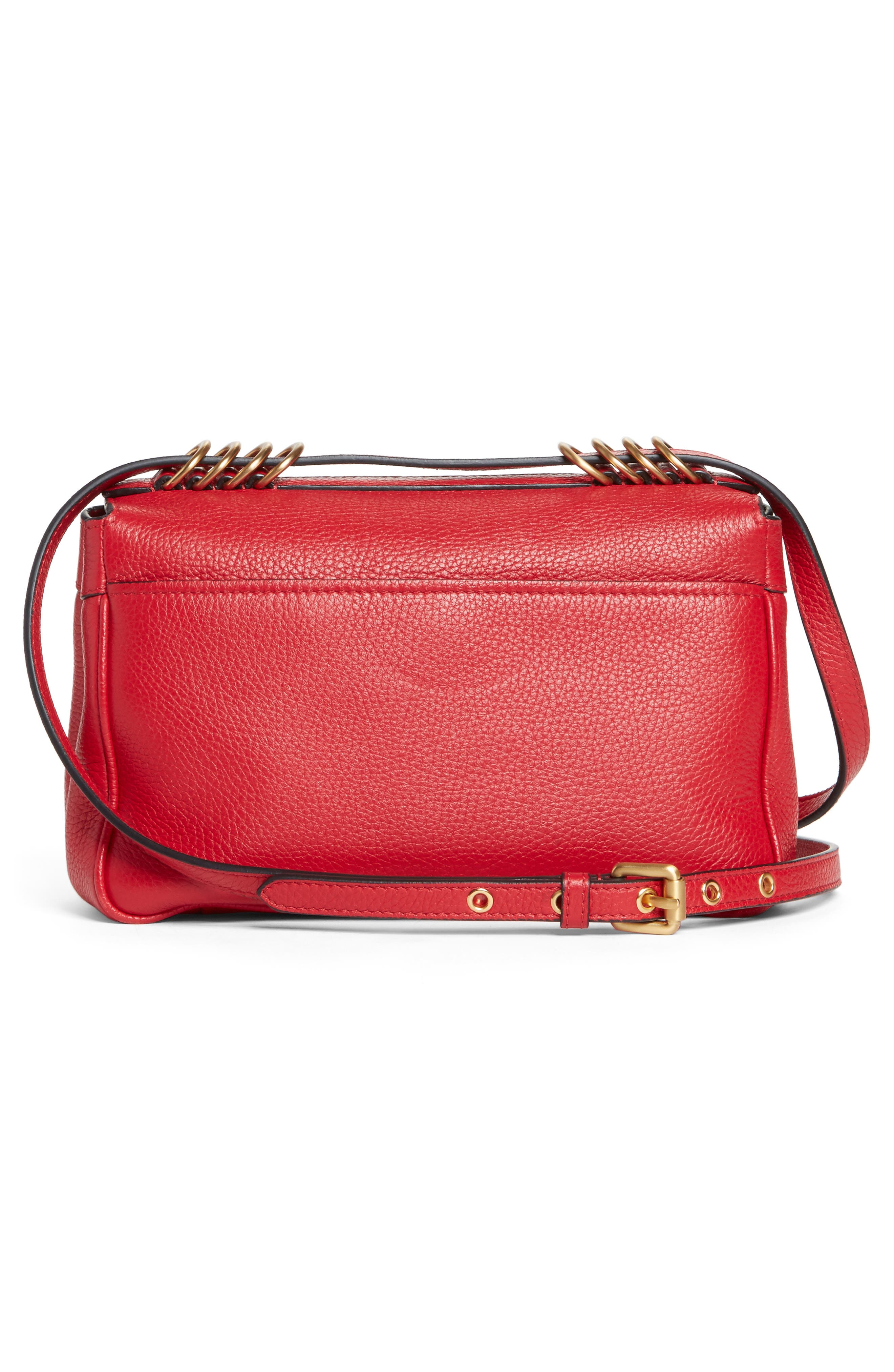 Grainy-B Leather Crossbody Bag,                             Alternate thumbnail 3, color,                             Red