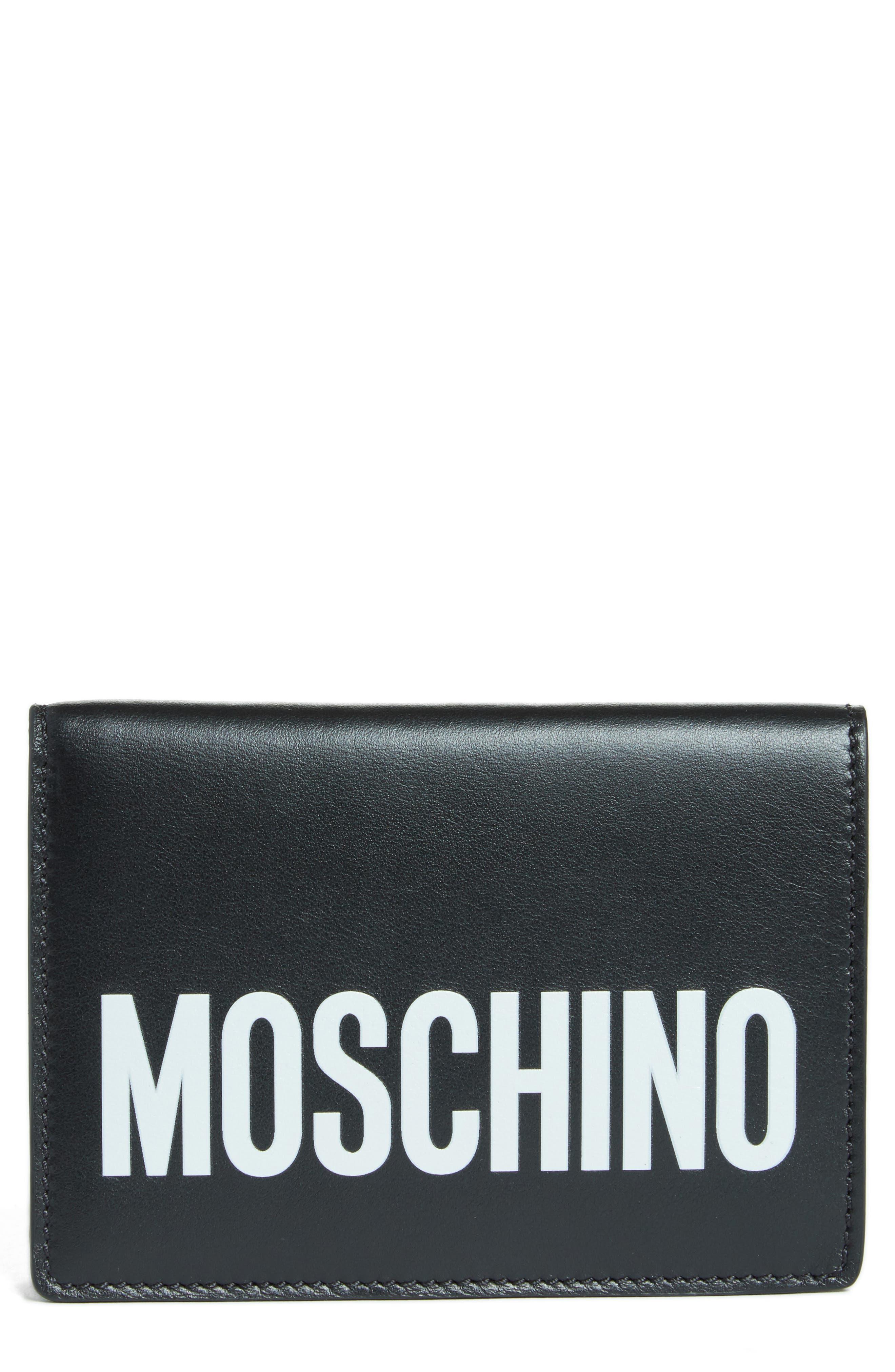 Logo Leather Passport Holder,                         Main,                         color, Black/White