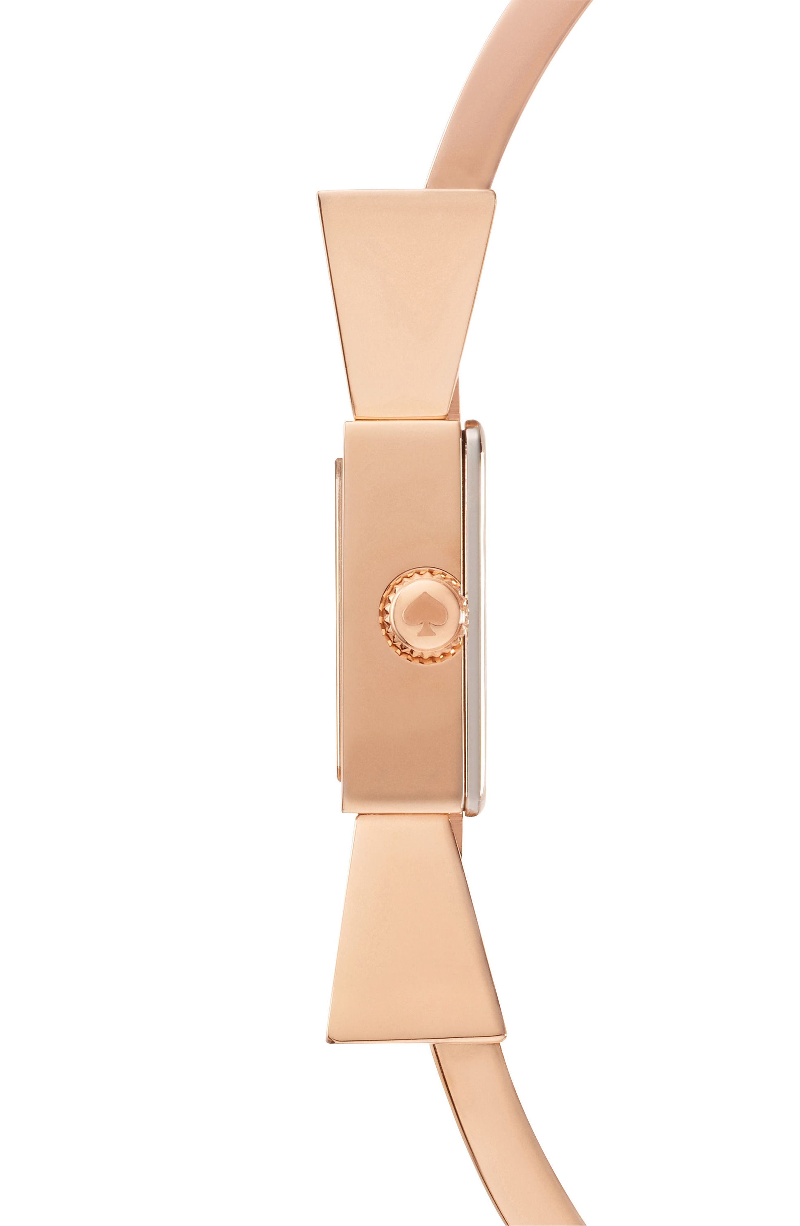 carlyle bow bangle watch, 16mm,                             Alternate thumbnail 3, color,                             White/ Rose Gold