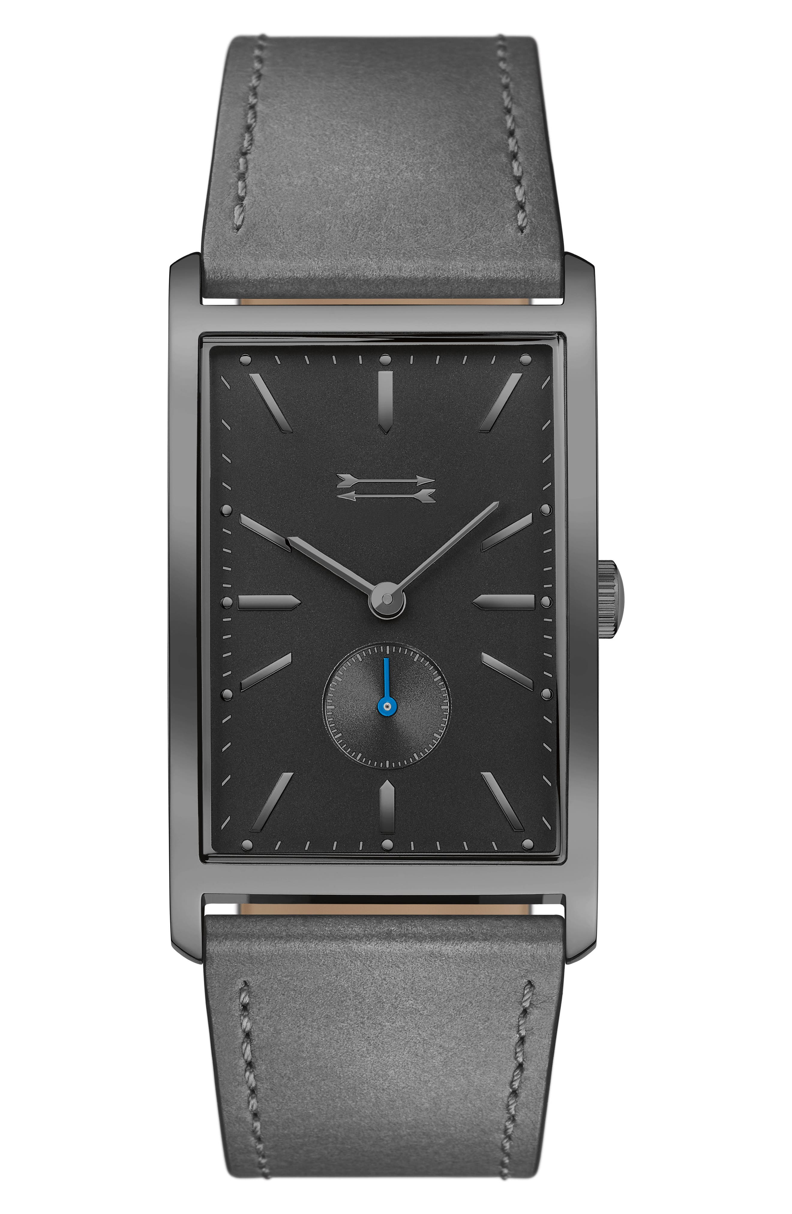 Pesaro Leather Strap Watch, 27mm,                         Main,                         color, Dark Taupe/ Black/ Gunmetal