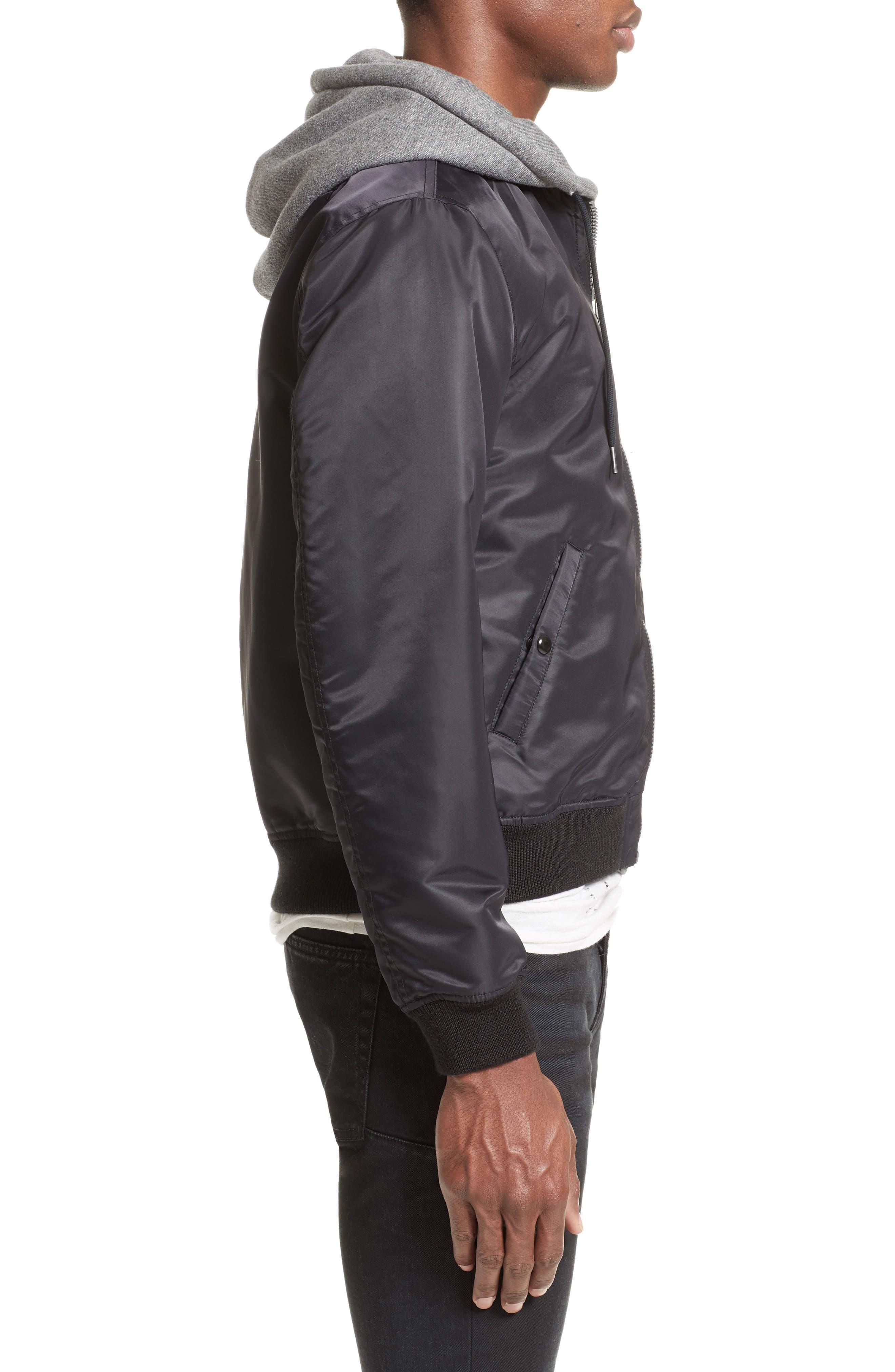 Flight Jacket with Hoodie,                             Alternate thumbnail 3, color,                             Black