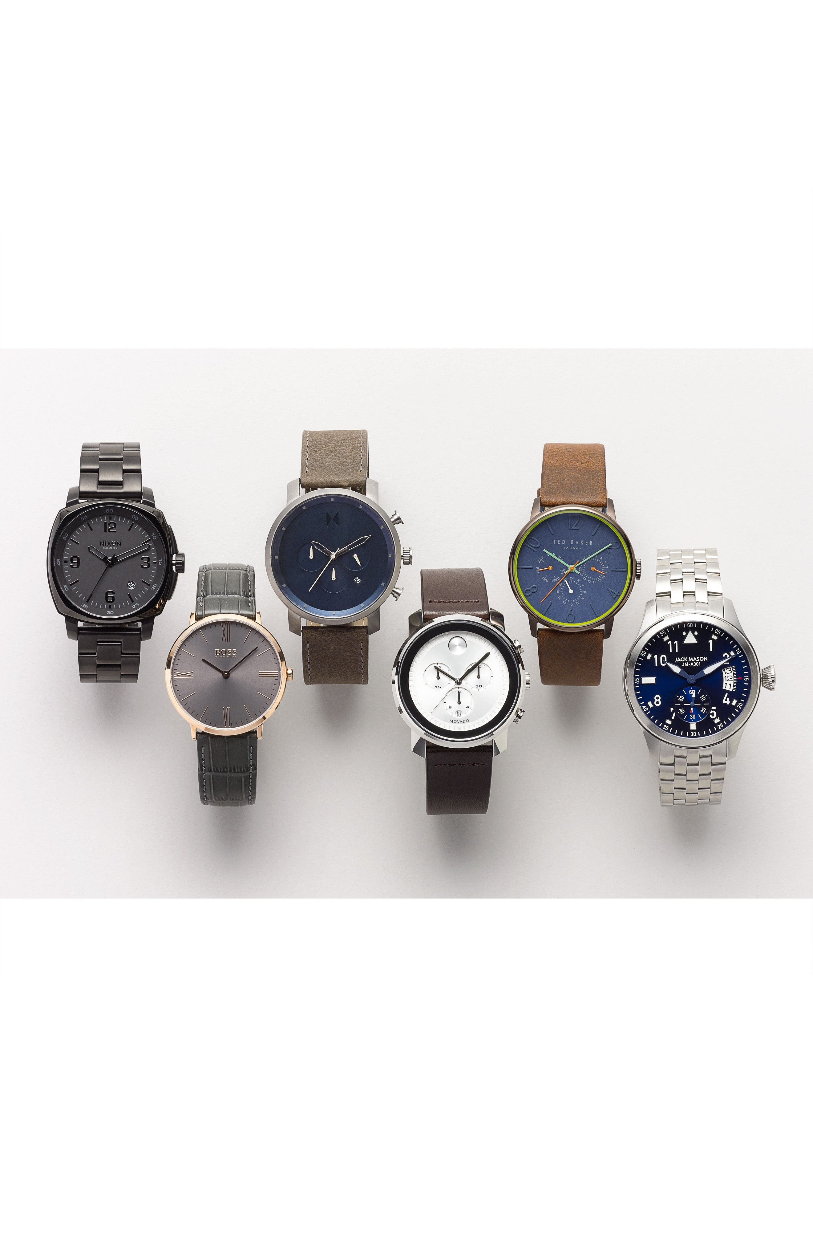 Connor Leather Strap Watch, 42mm,                             Alternate thumbnail 4, color,