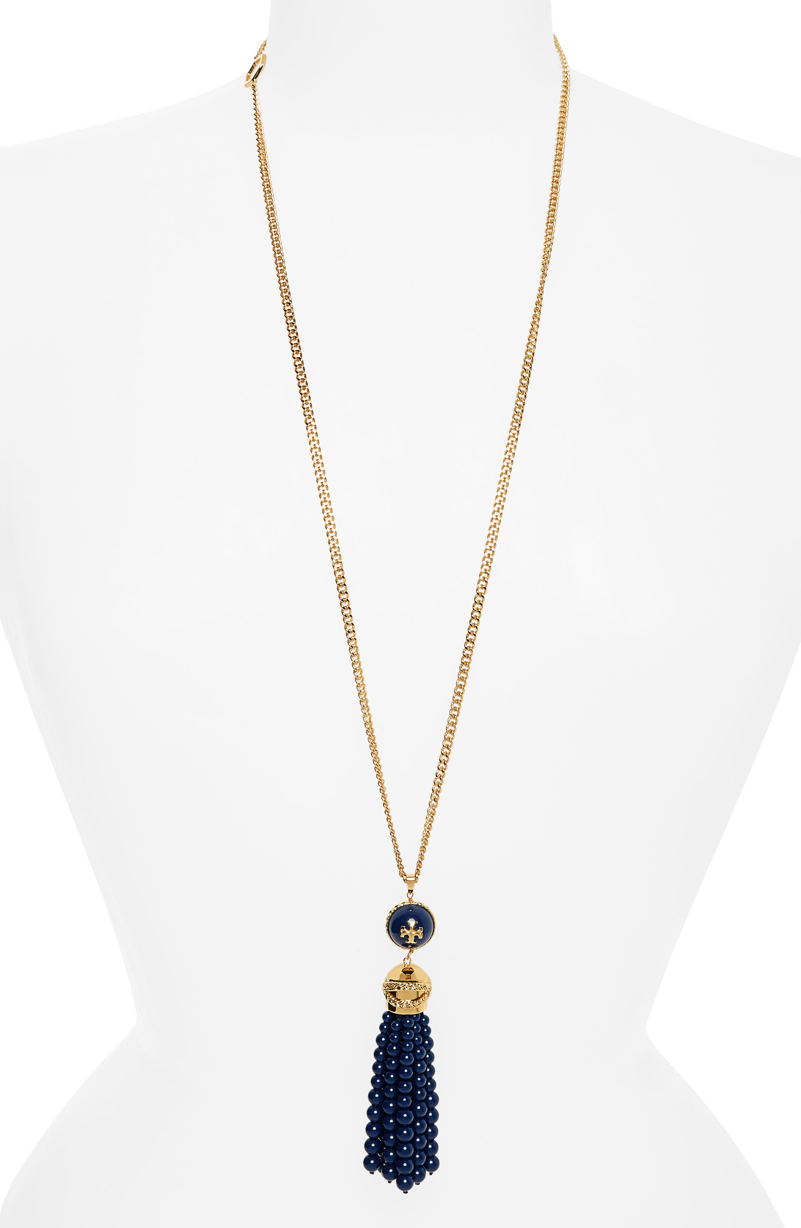 Tory Burch Beaded Tassel Necklace