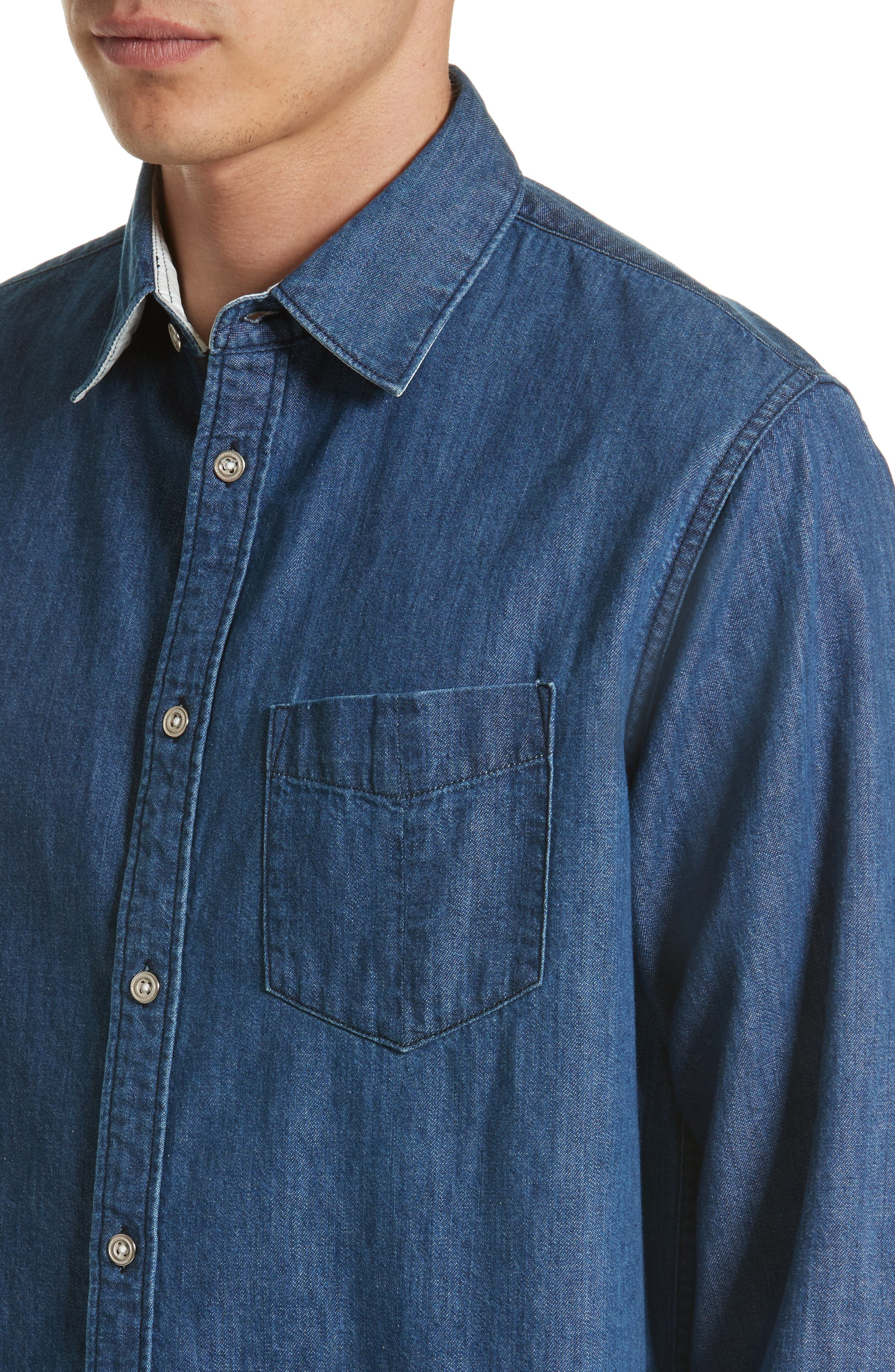 Fit 3 Woven Denim Shirt,                             Alternate thumbnail 5, color,                             Indigo