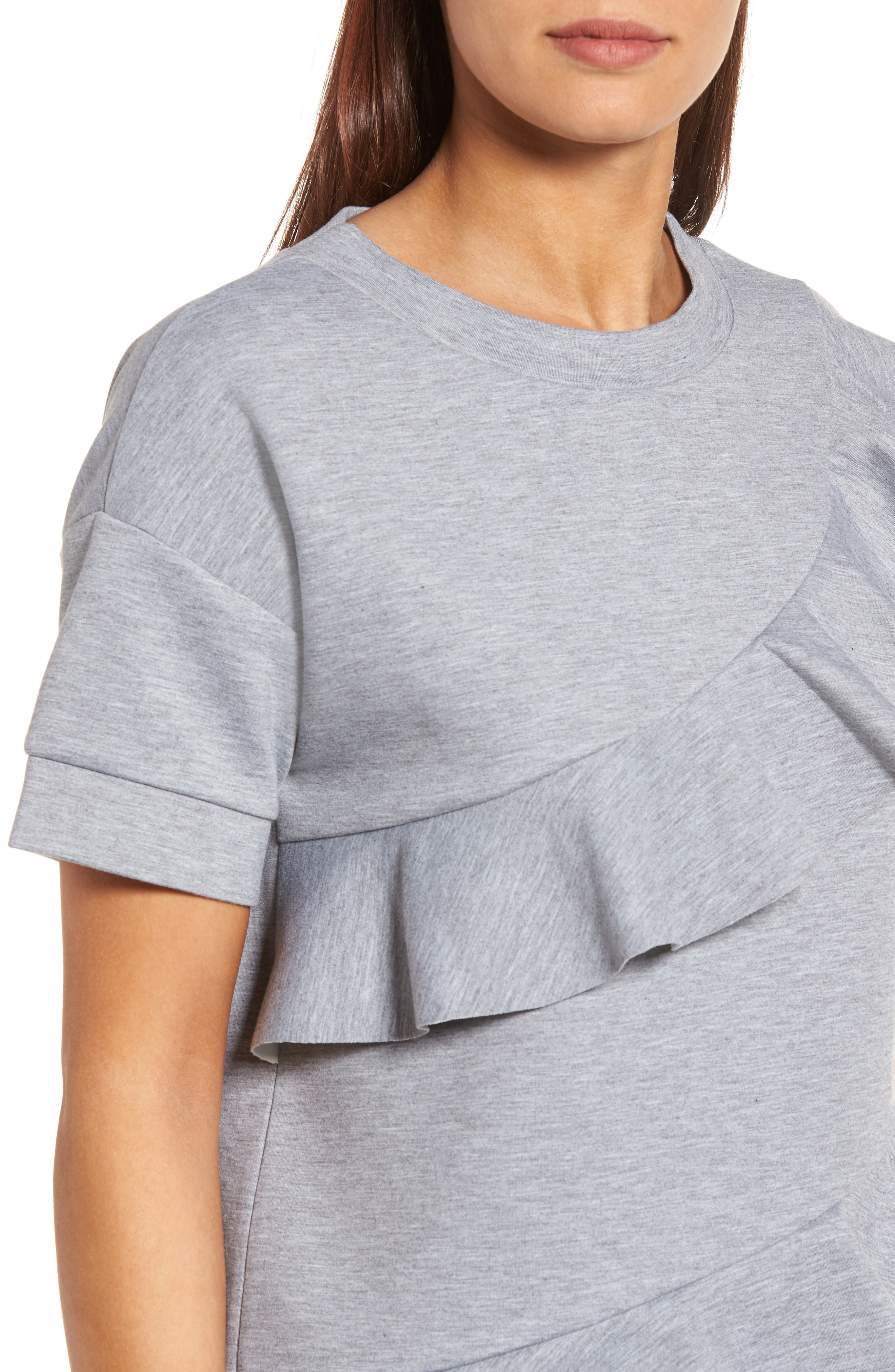 Alternate Image 4  - Halogen® Ruffle Front Neopene Sweatshirt (Regular & Petite)