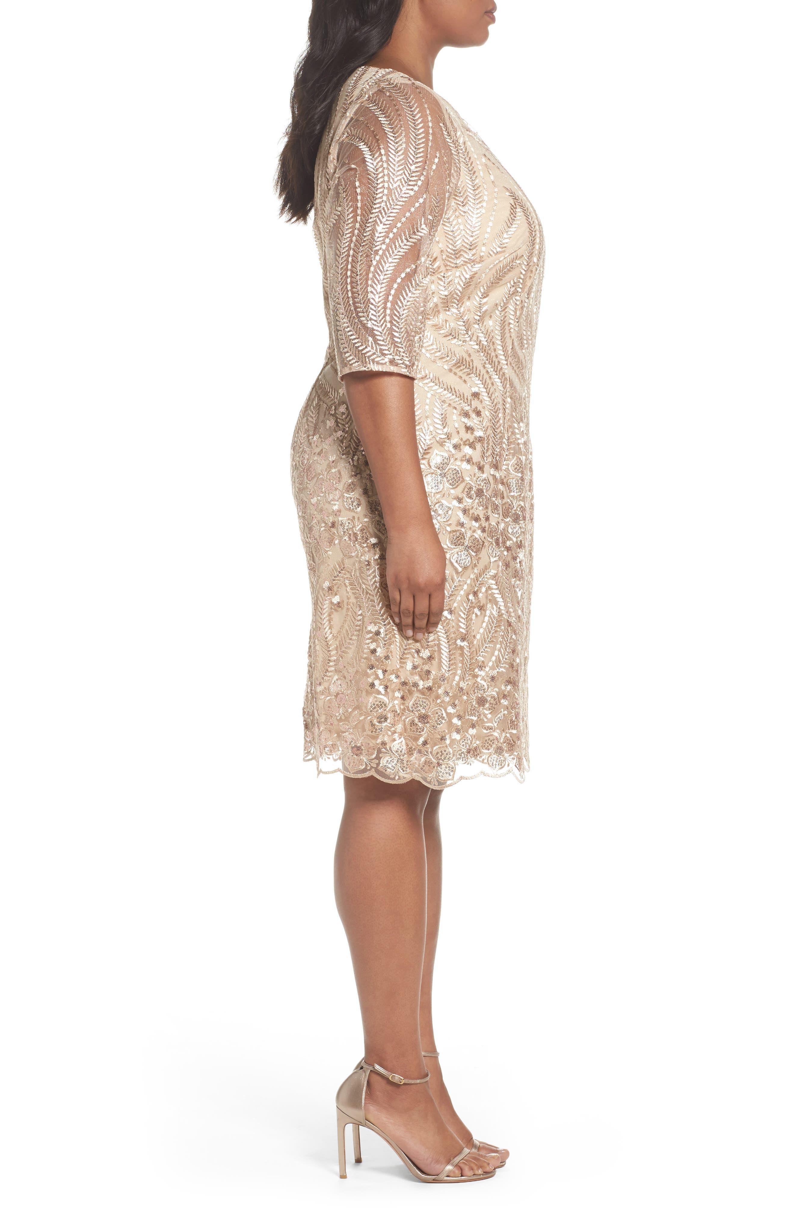 Embellished Sheath Dress,                             Alternate thumbnail 3, color,                             Champagne