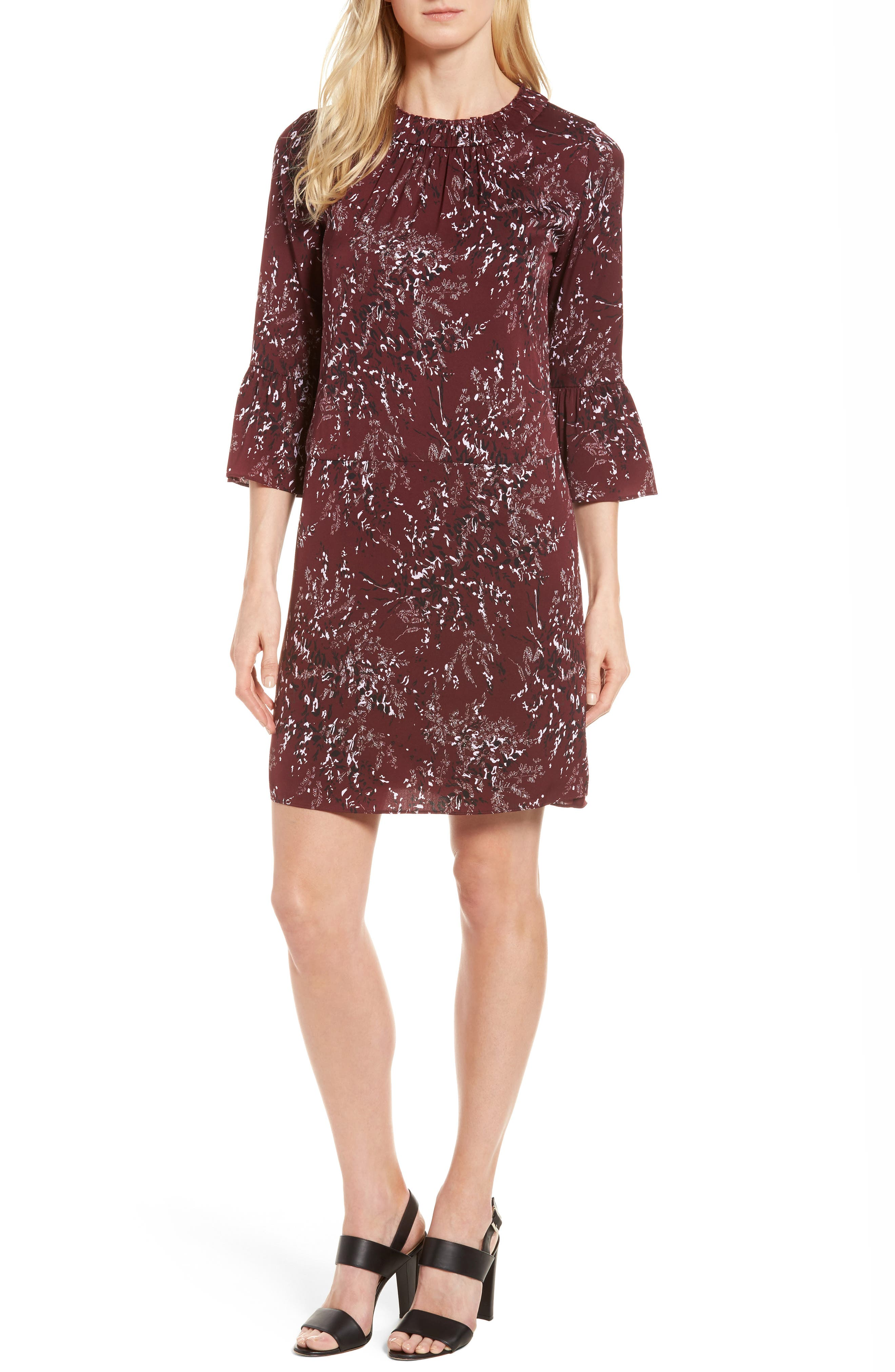 Main Image - Nordstrom Signature Floral Print Stretch Silk Minidress