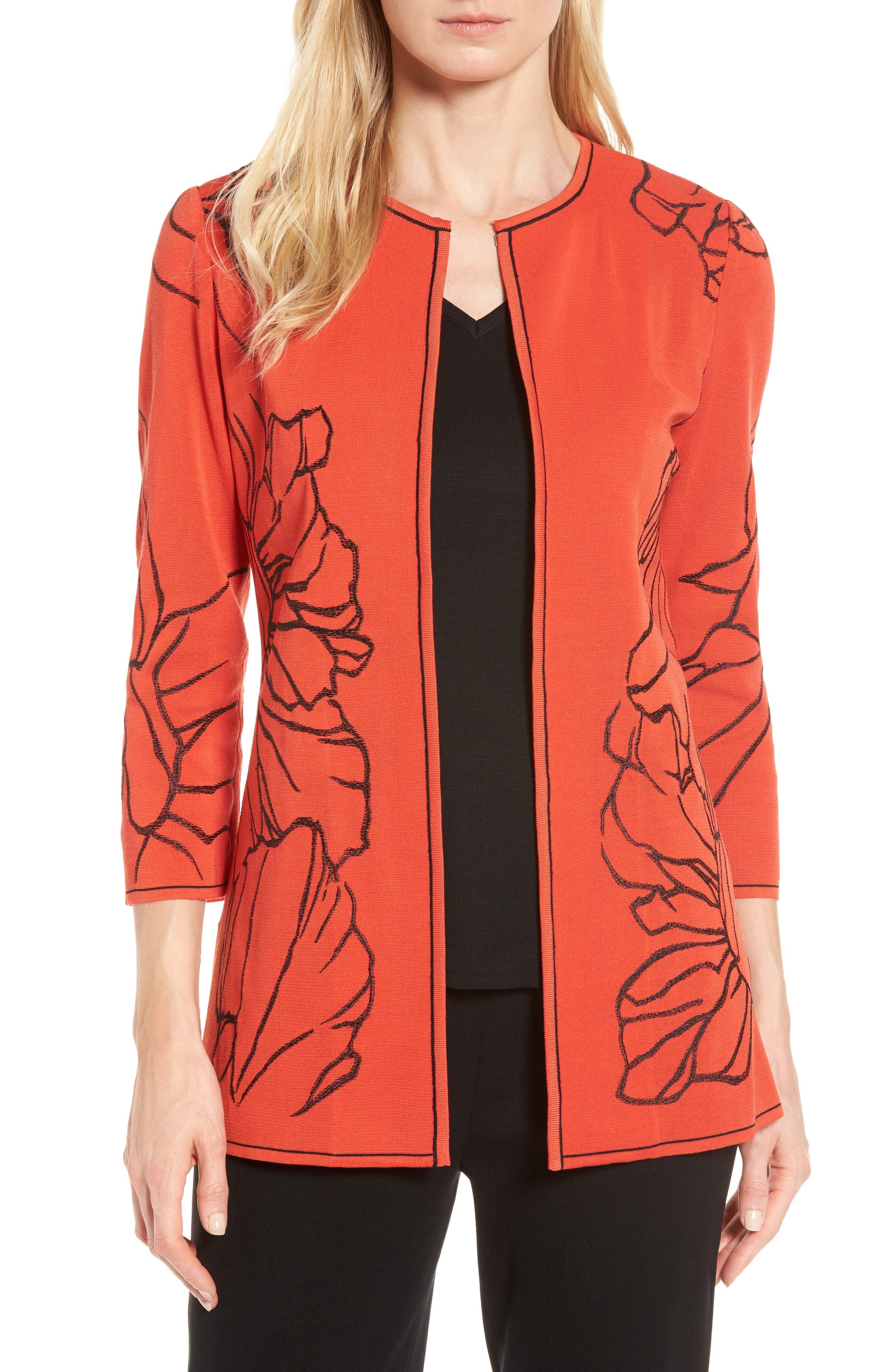 Main Image - Ming Wang Embroidered Knit Jacket