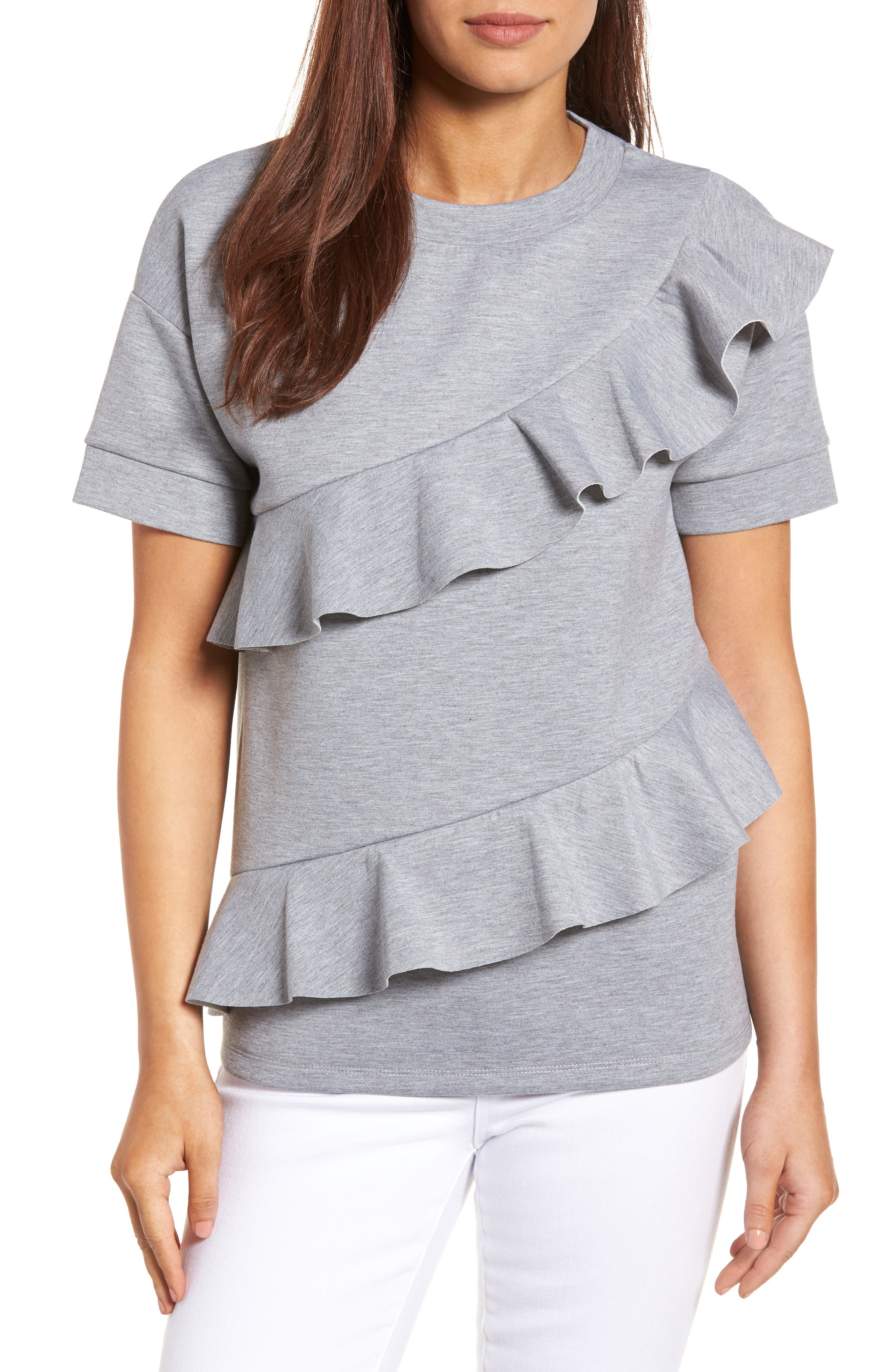Alternate Image 1 Selected - Halogen® Ruffle Front Neopene Sweatshirt (Regular & Petite)