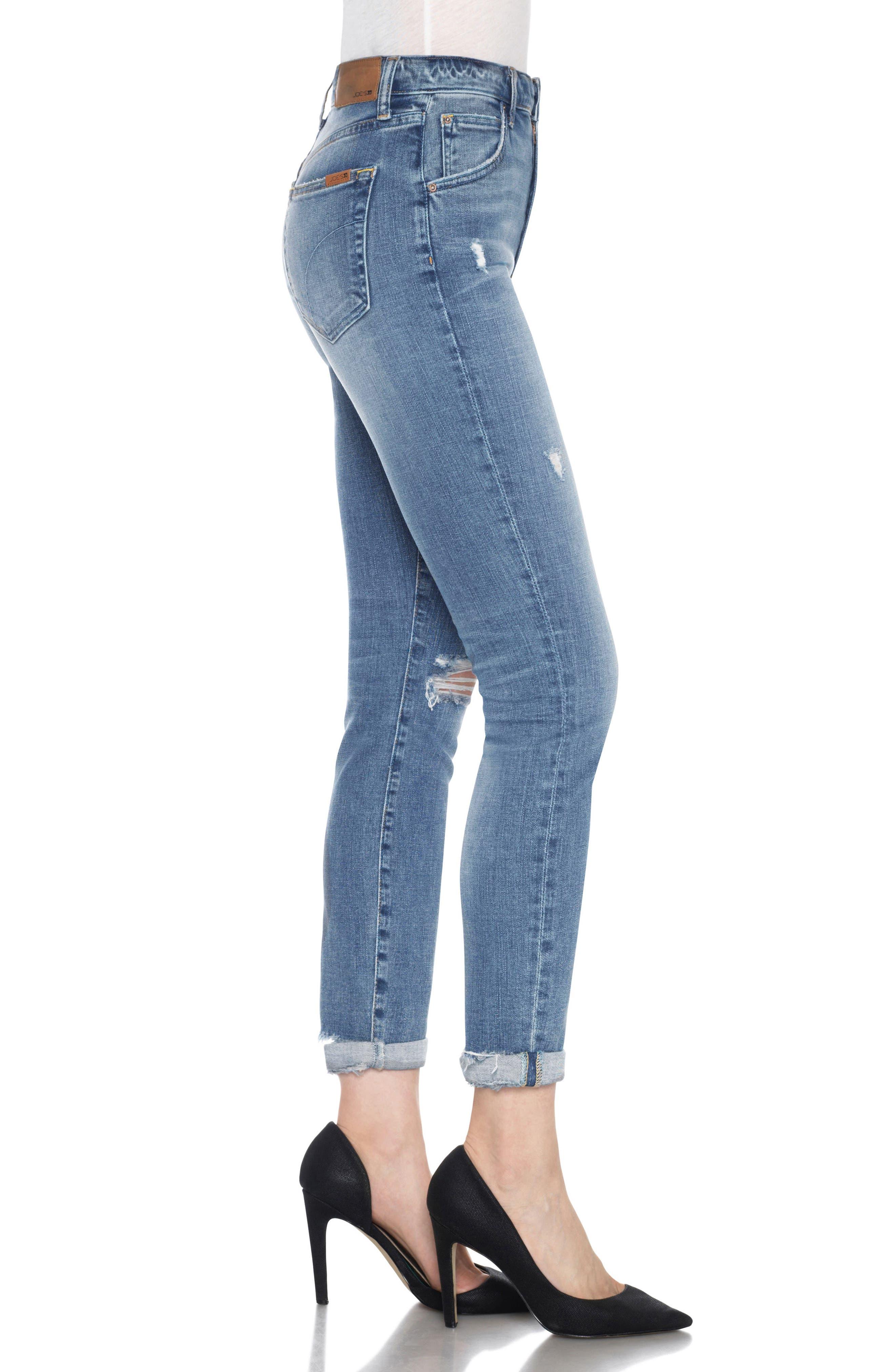 Bella High Waist Crop Skinny Jeans,                             Alternate thumbnail 3, color,                             Mailou