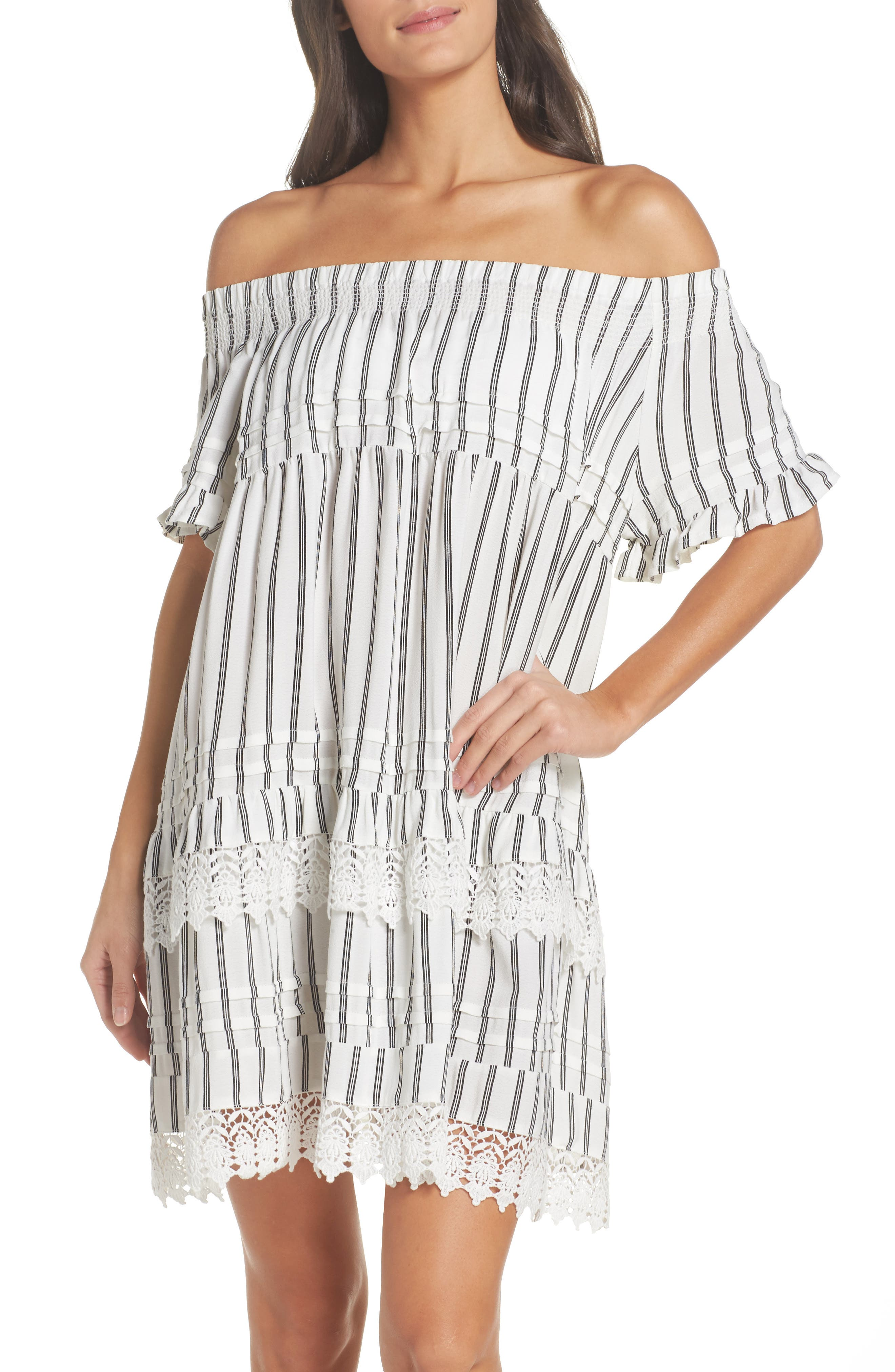 Off the Shoulder Cover-Up Dress,                             Main thumbnail 1, color,                             Ivory/ Black