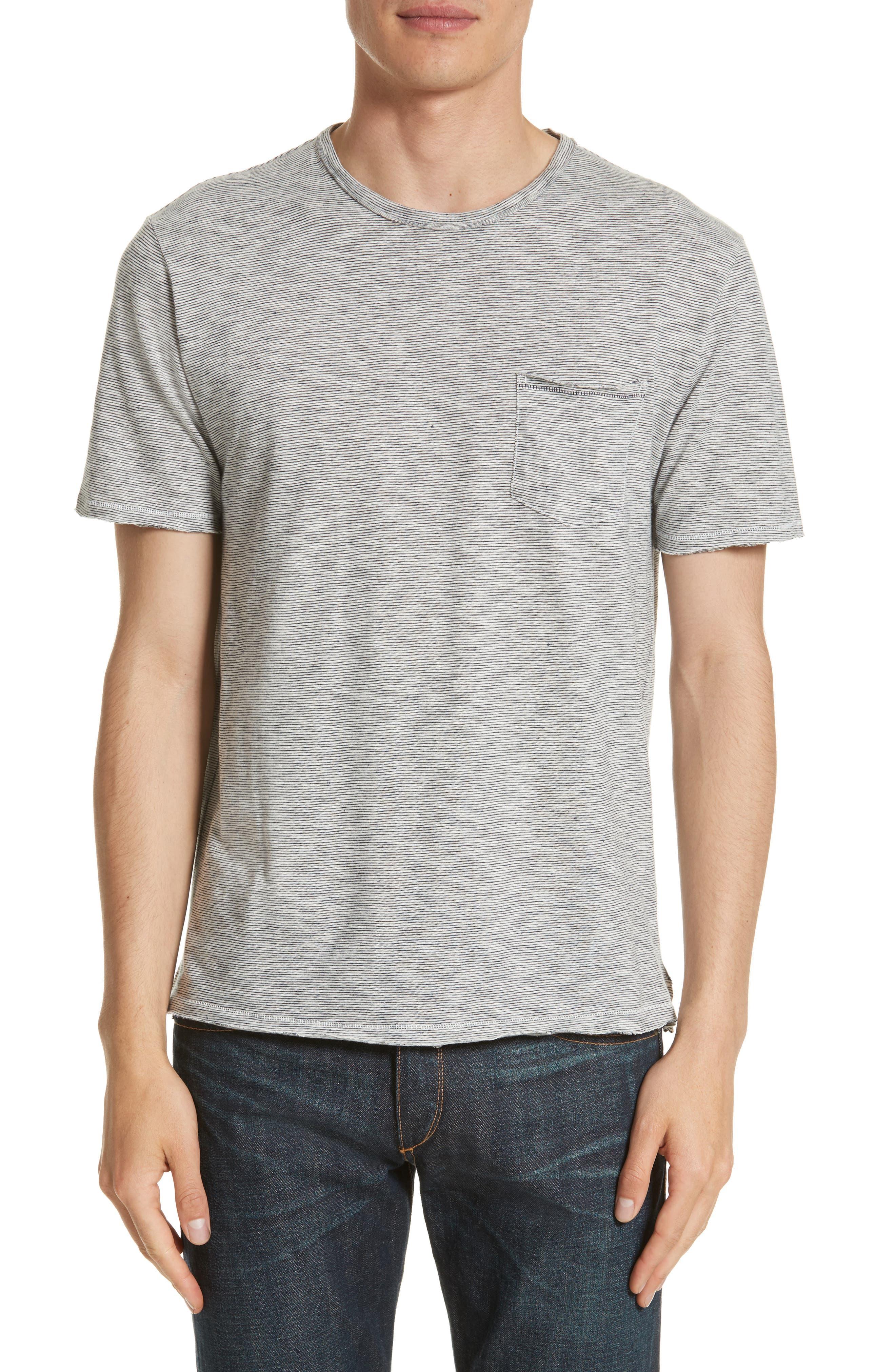 Owen Pocket T-Shirt,                         Main,                         color, Navy/ White