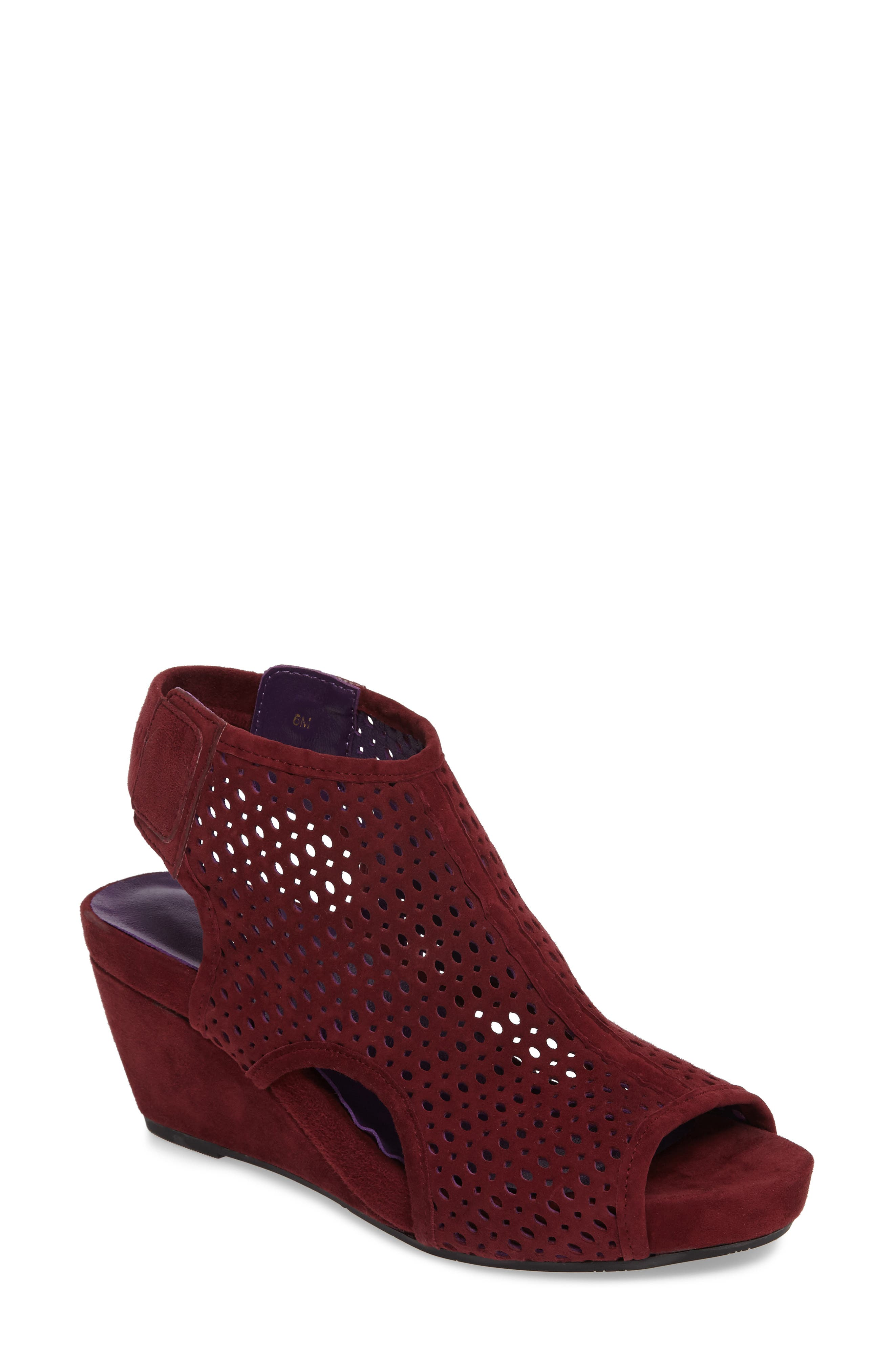 'Inez' Wedge Sandal,                             Main thumbnail 1, color,                             Red Suede