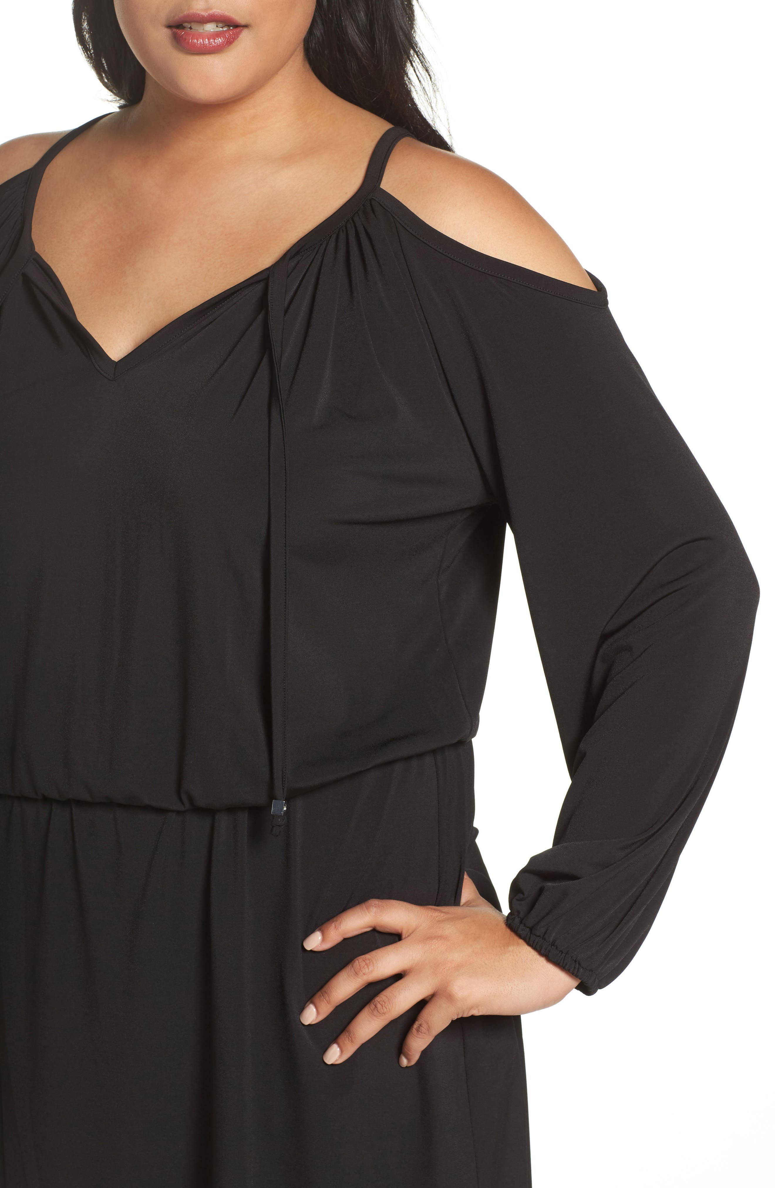Cold Shoulder A-Line Jersey Dress,                             Alternate thumbnail 4, color,                             Black