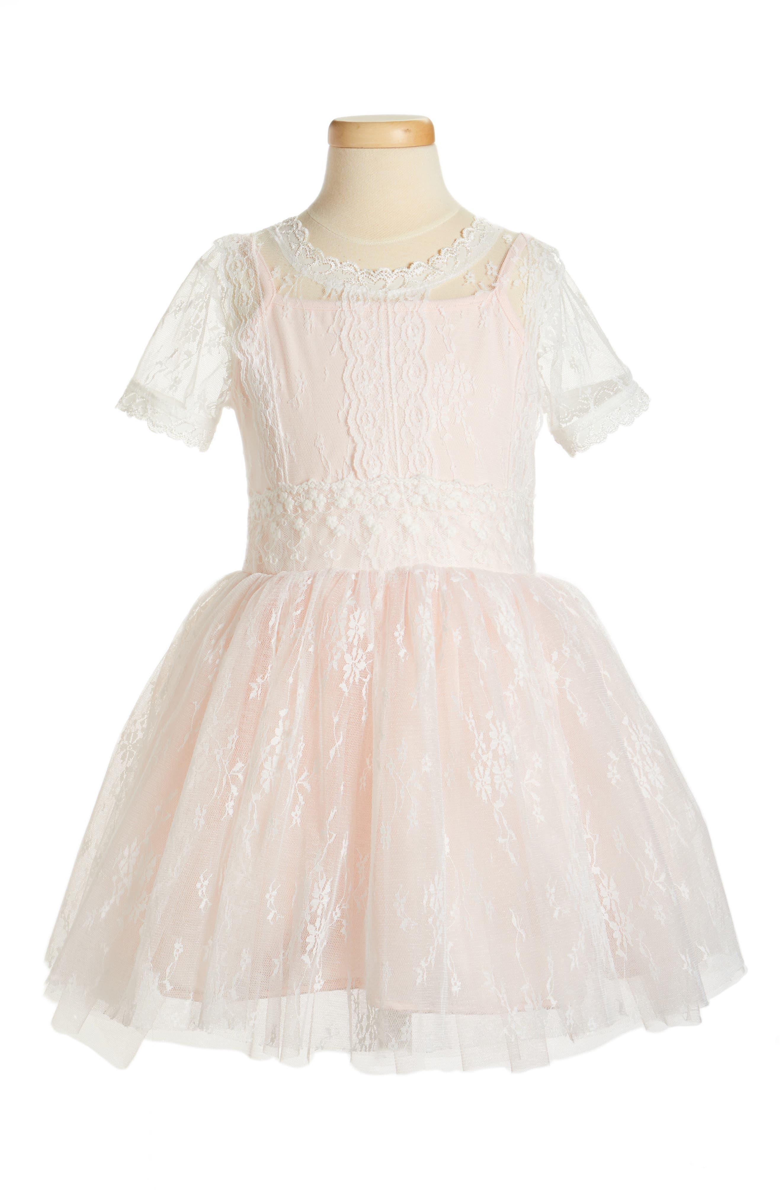 Lace Dress,                             Main thumbnail 1, color,                             Light Peach