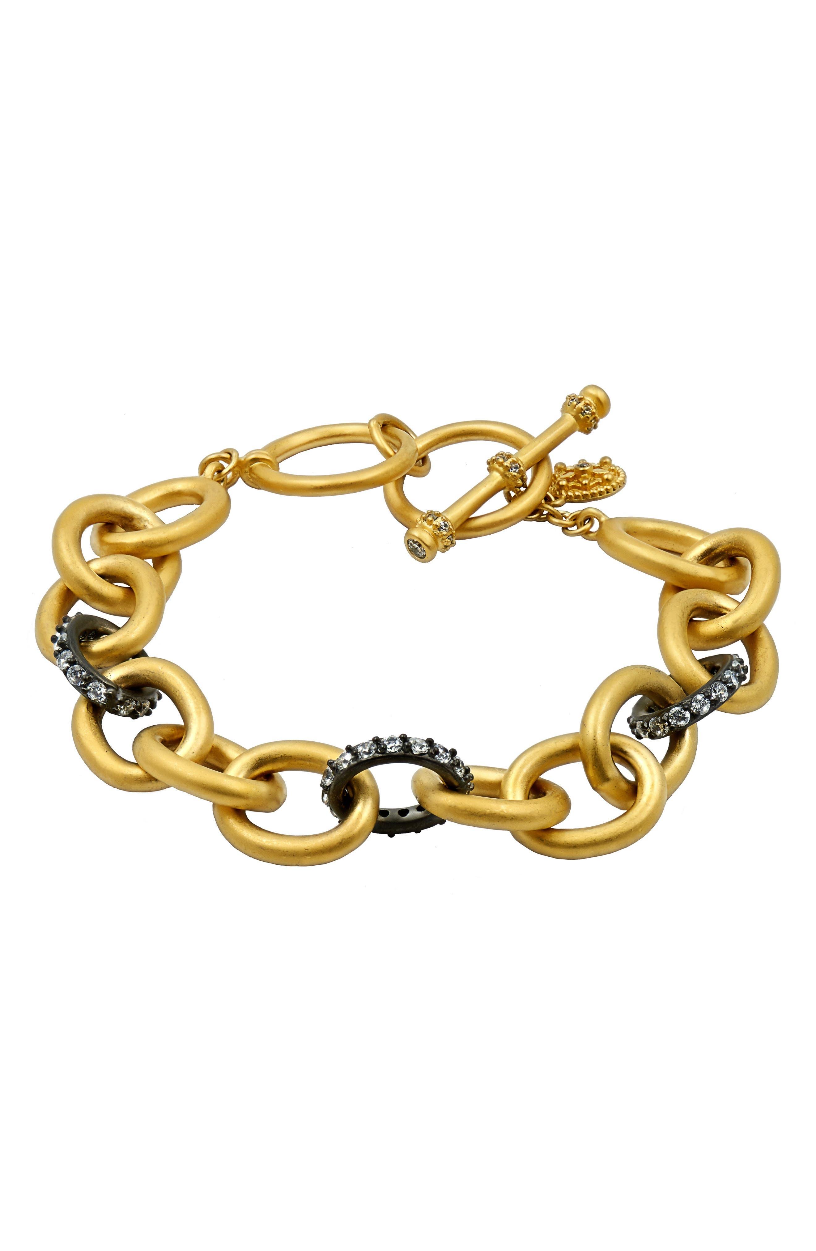 Signature Heavy Link Bracelet,                             Main thumbnail 1, color,                             Gold/ Black