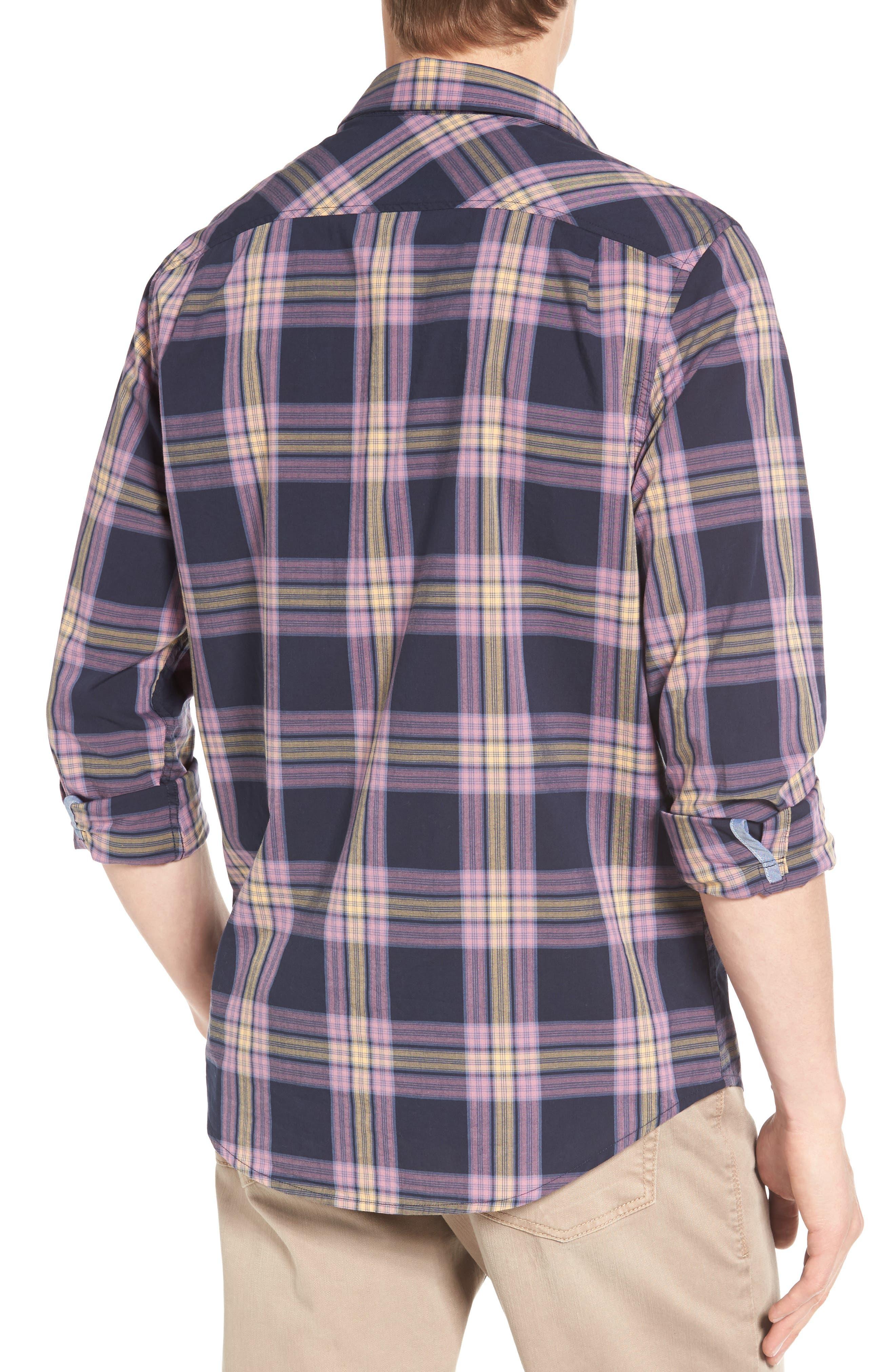 Heritage Slim Fit Plaid Woven Shirt,                             Alternate thumbnail 2, color,                             Dark Sapphire