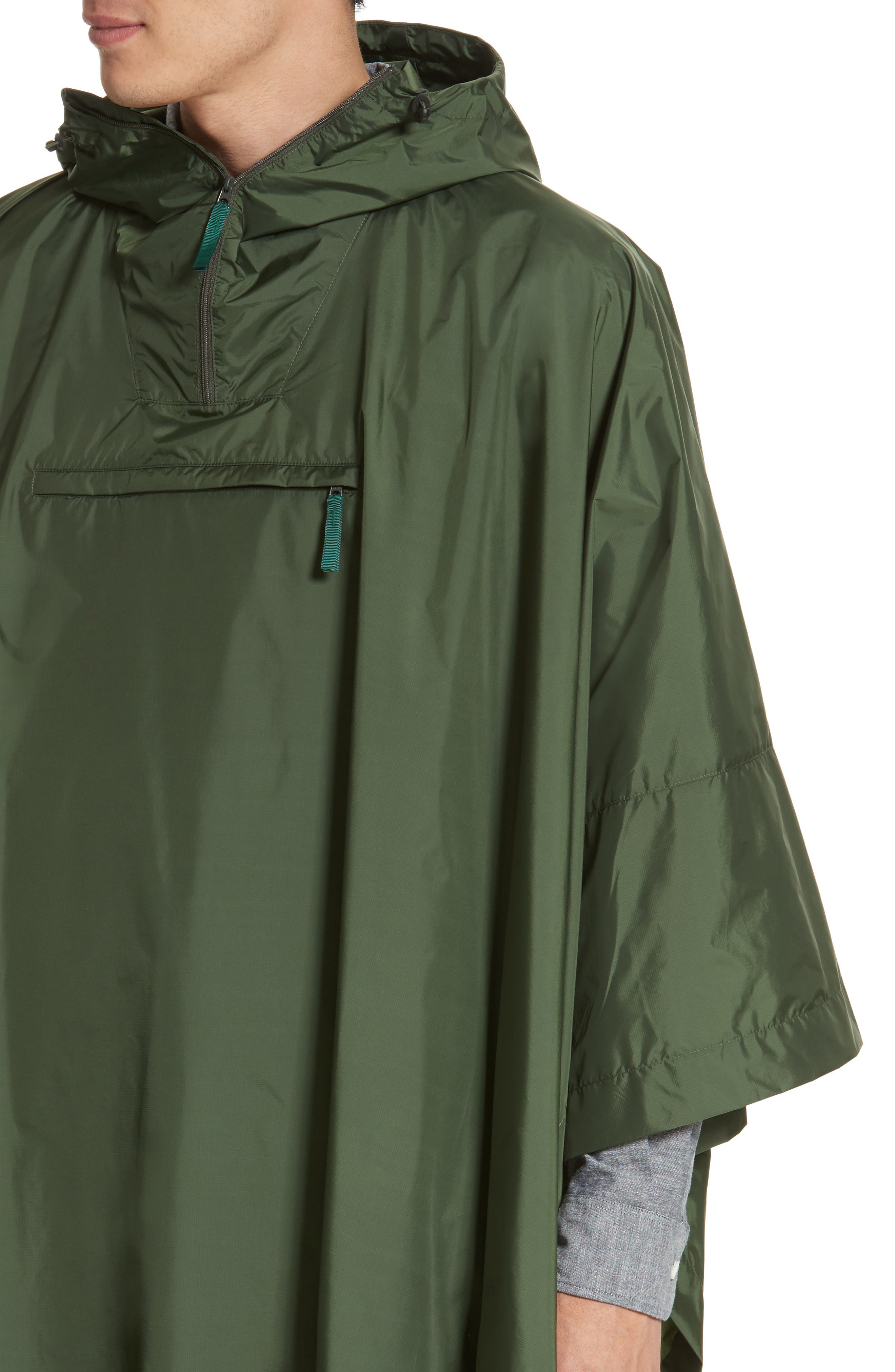 Packable Nylon Poncho,                             Alternate thumbnail 4, color,                             Forest Green