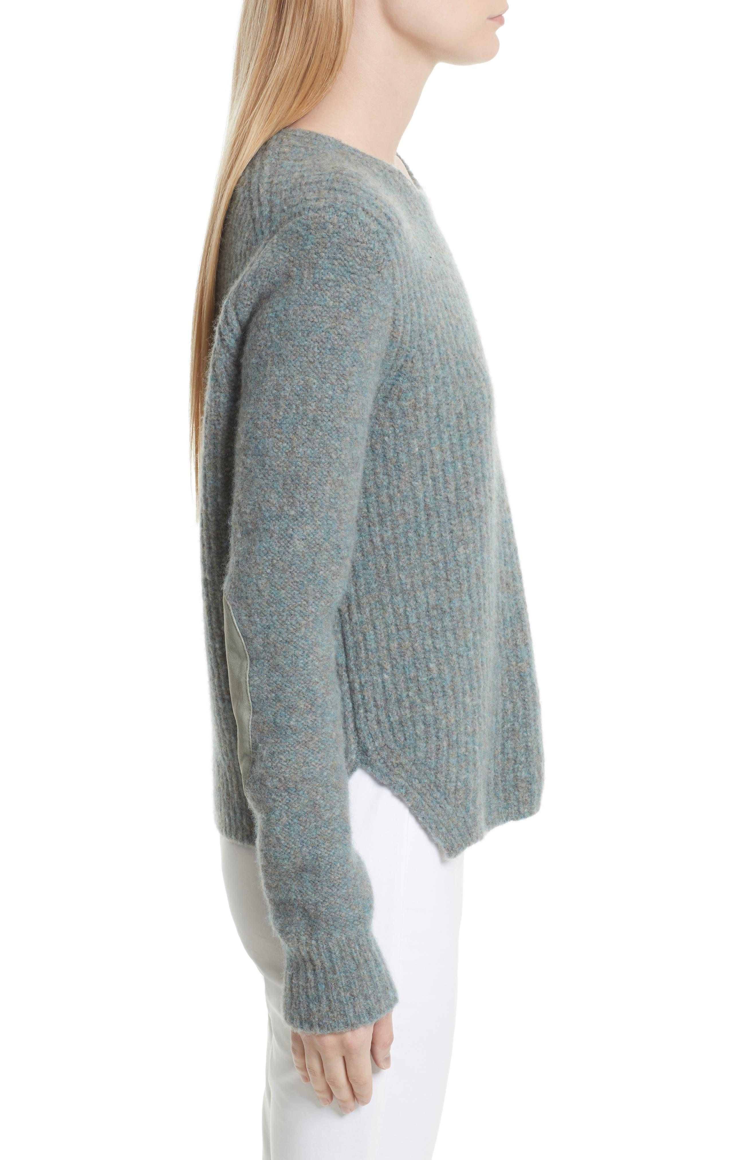 Francie Merino Wool Blend Sweater,                             Alternate thumbnail 3, color,                             Teal