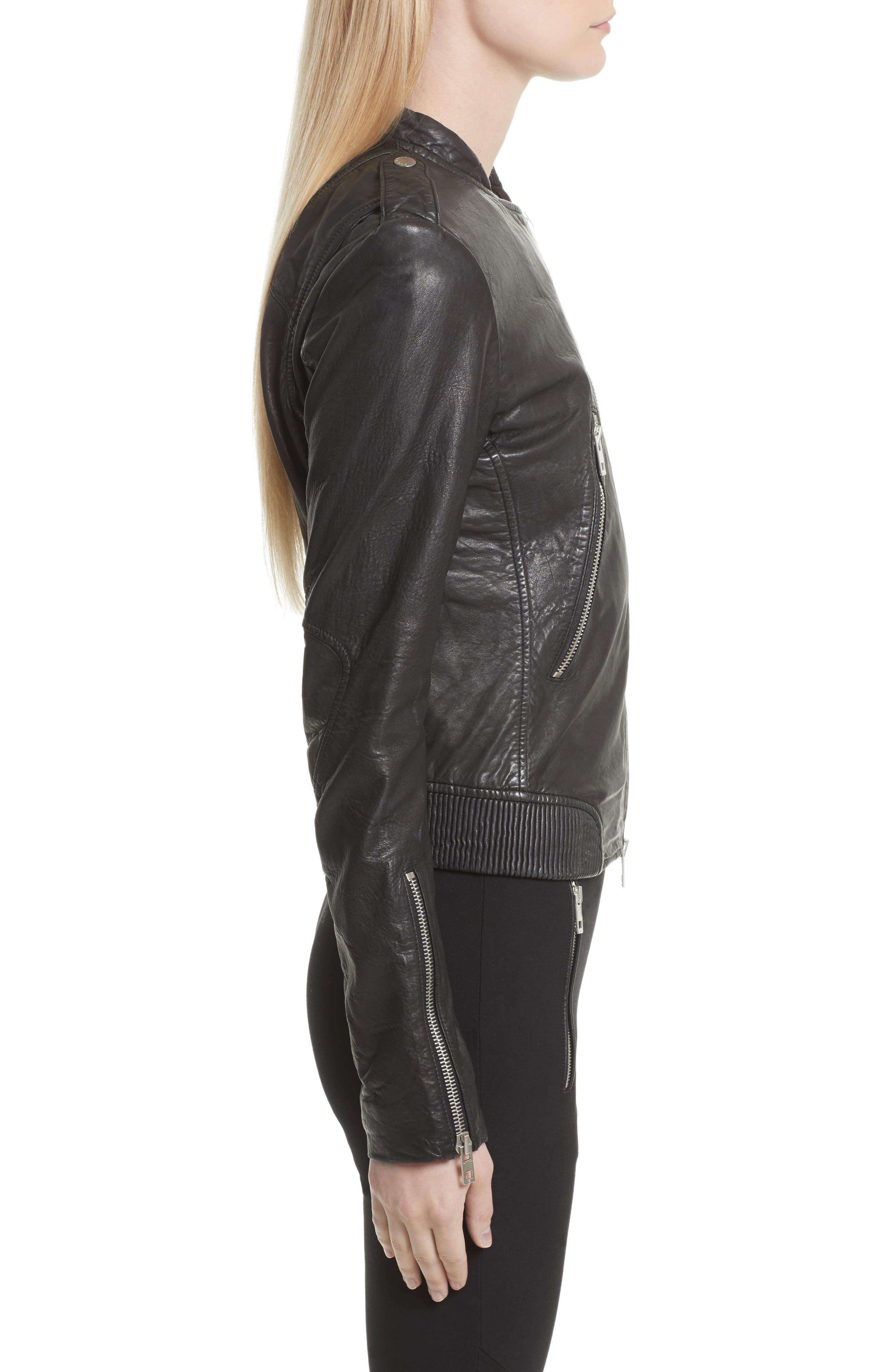 Lyon Leather Jacket,                             Alternate thumbnail 3, color,                             Black