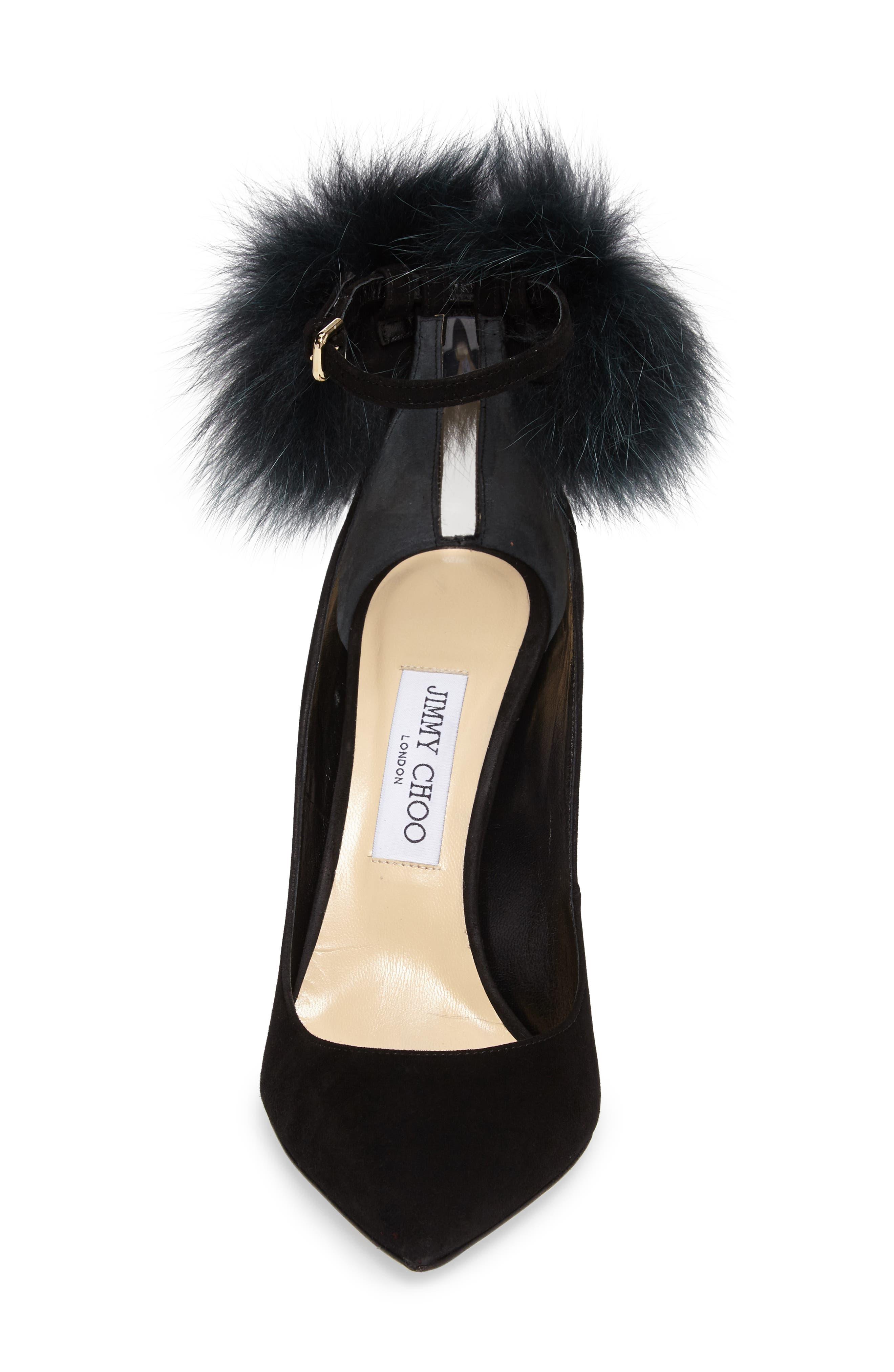 Alternate Image 4  - Jimmy Choo South Genuine Fox Fur Pompom Pump (Women)