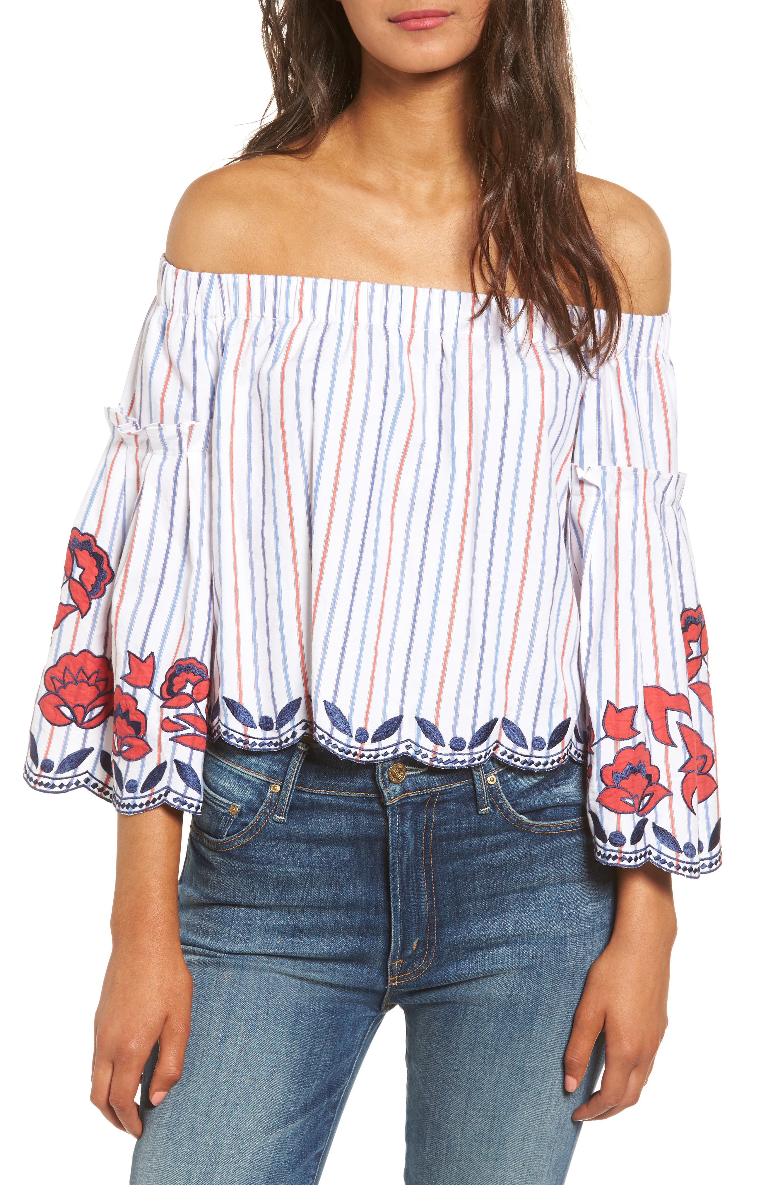 Dane Off the Shoulder Blouse,                             Main thumbnail 1, color,                             Pinstripe