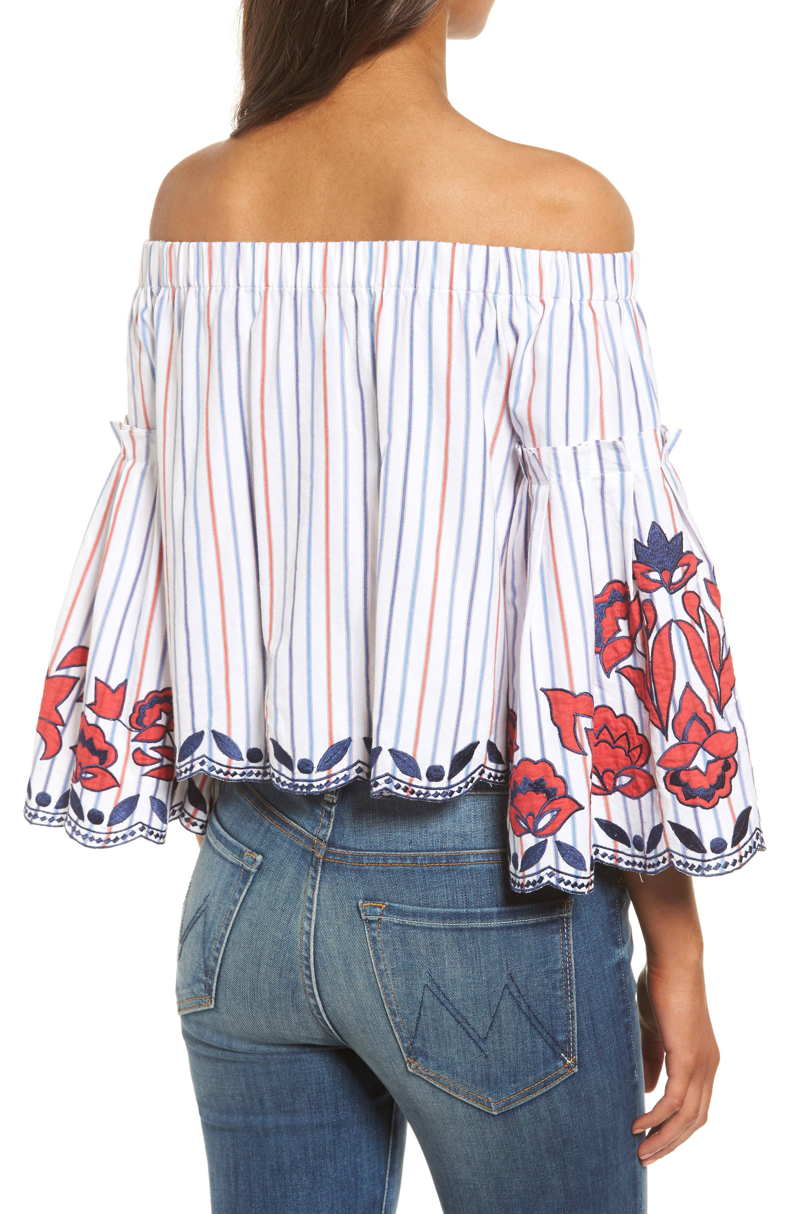 Dane Off the Shoulder Blouse,                             Alternate thumbnail 2, color,                             Pinstripe