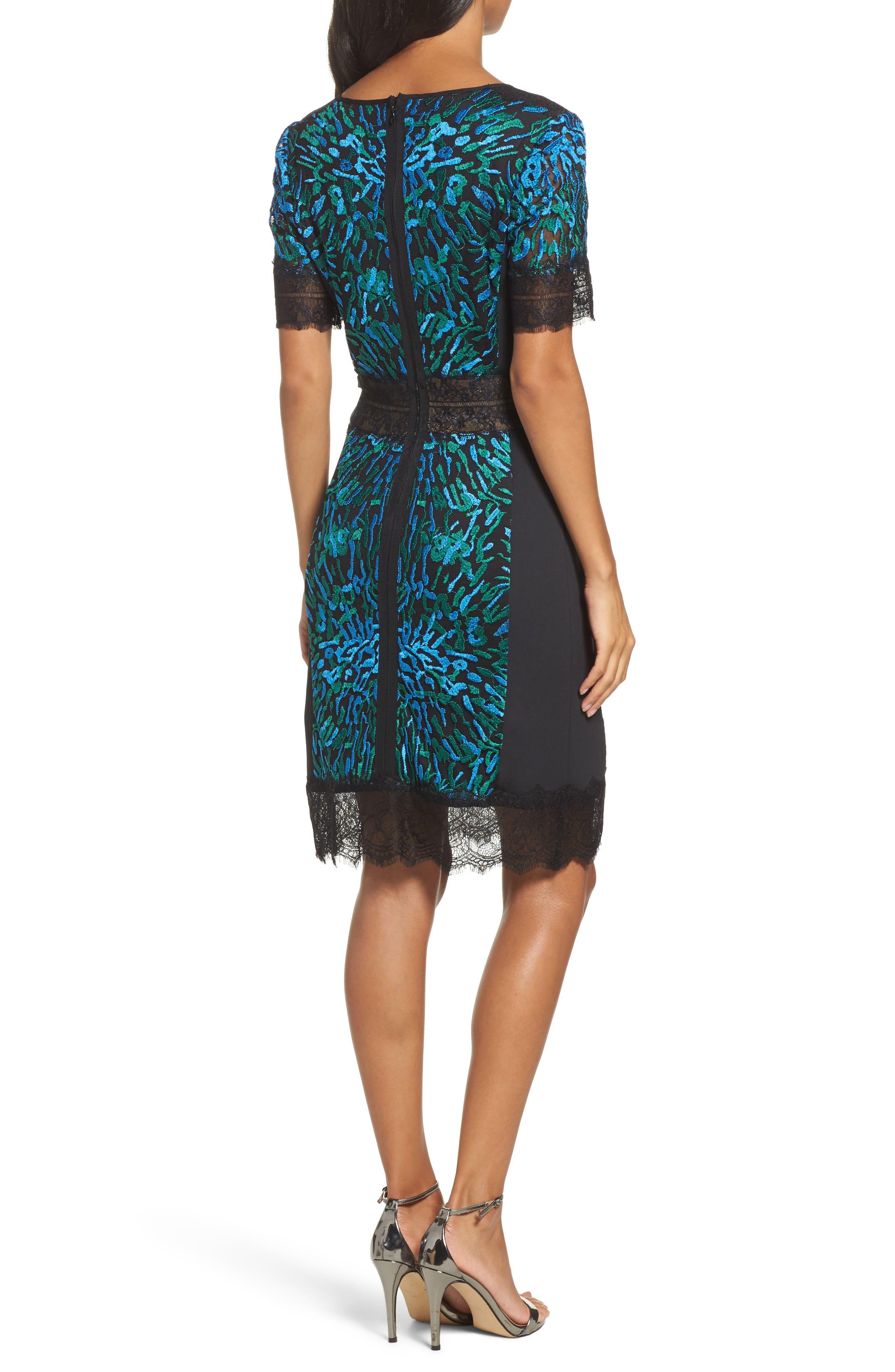 Illusion Lace & Embroidered Mesh Sheath Dress,                             Alternate thumbnail 2, color,                             Deep Ocean/ Black