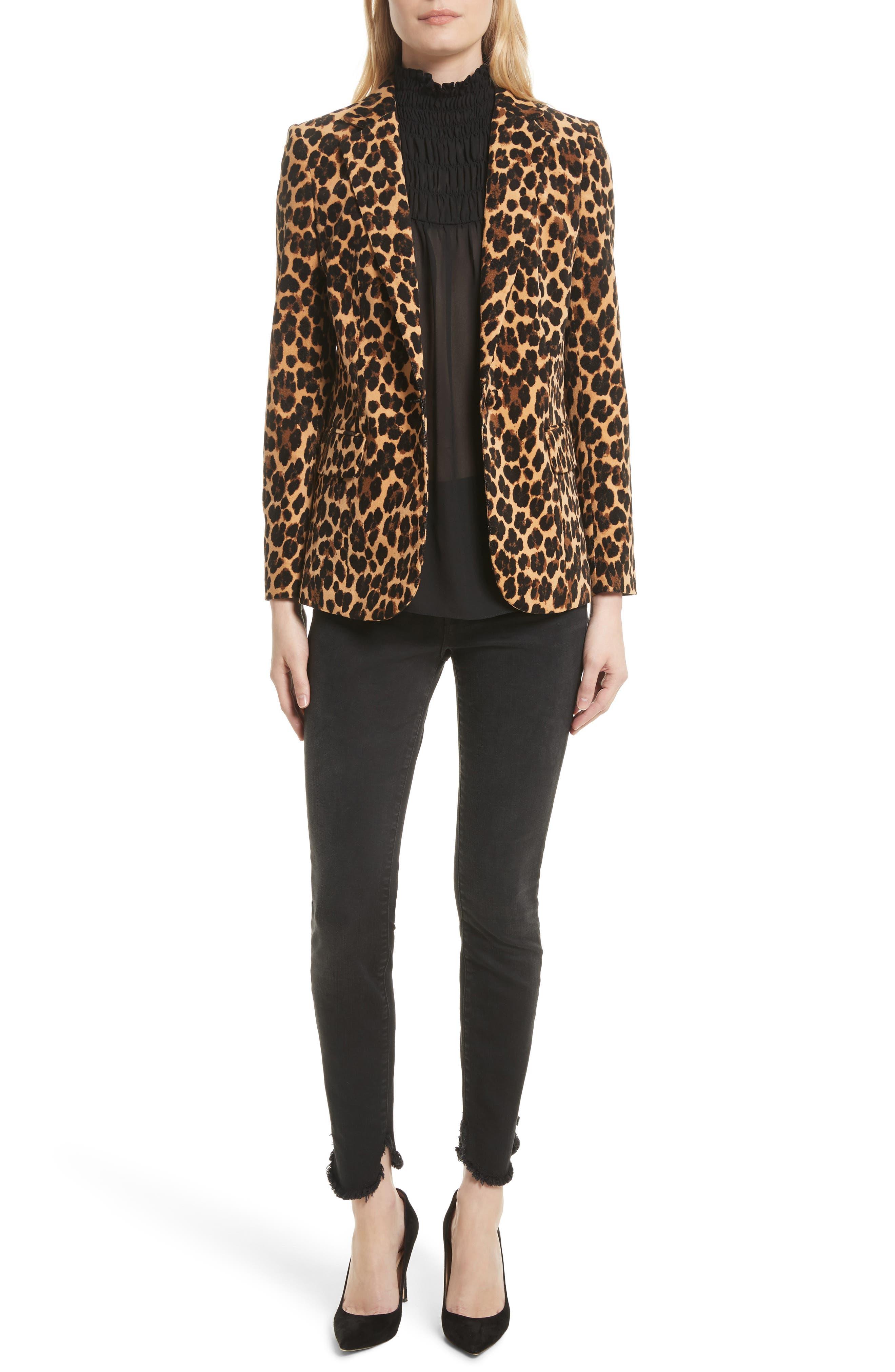 Alternate Image 8  - FRAME Cheetah Classic Velvet Blazer