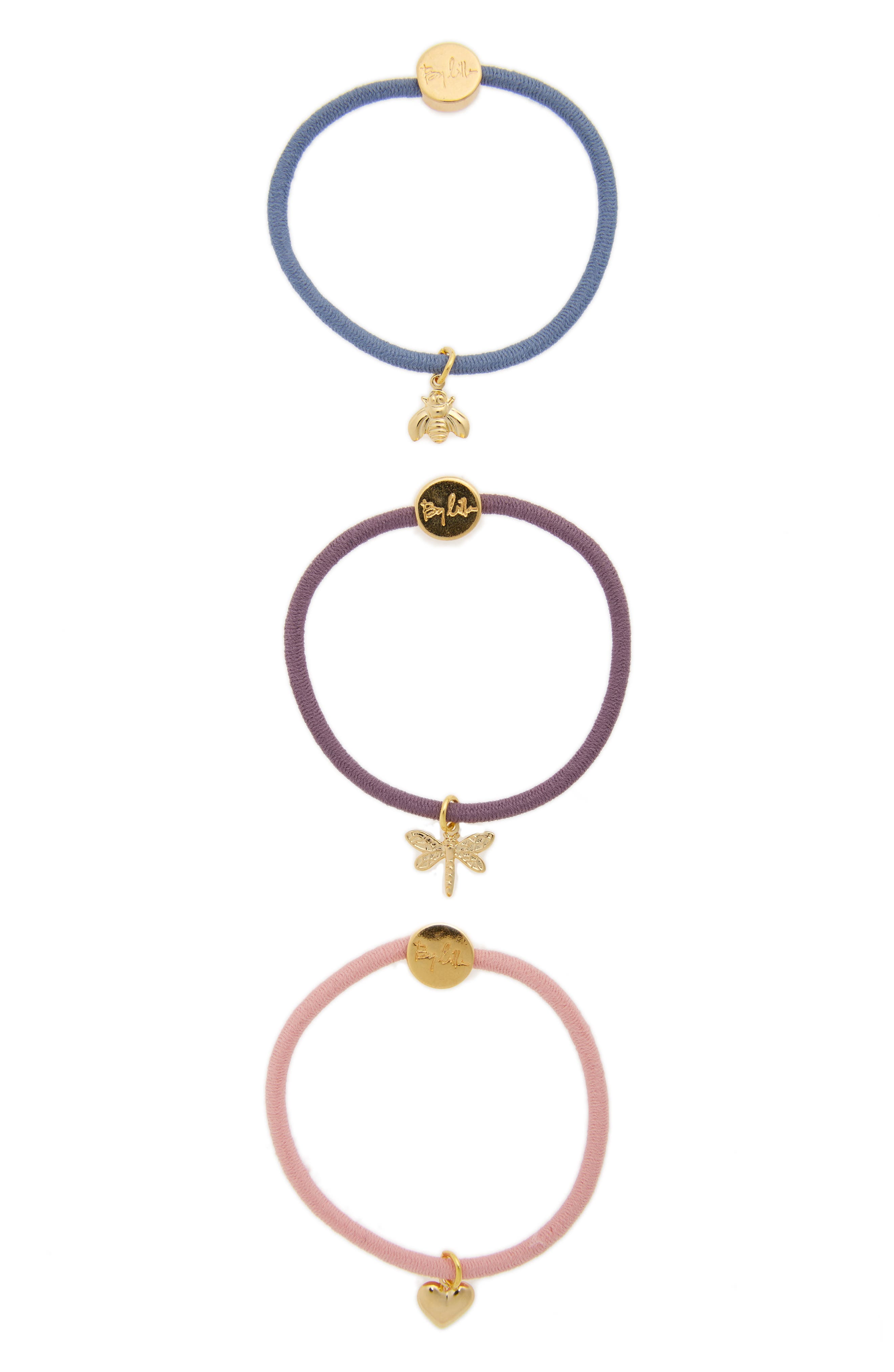 BY LILLA Message Set of 3 Charm Hair Elastics