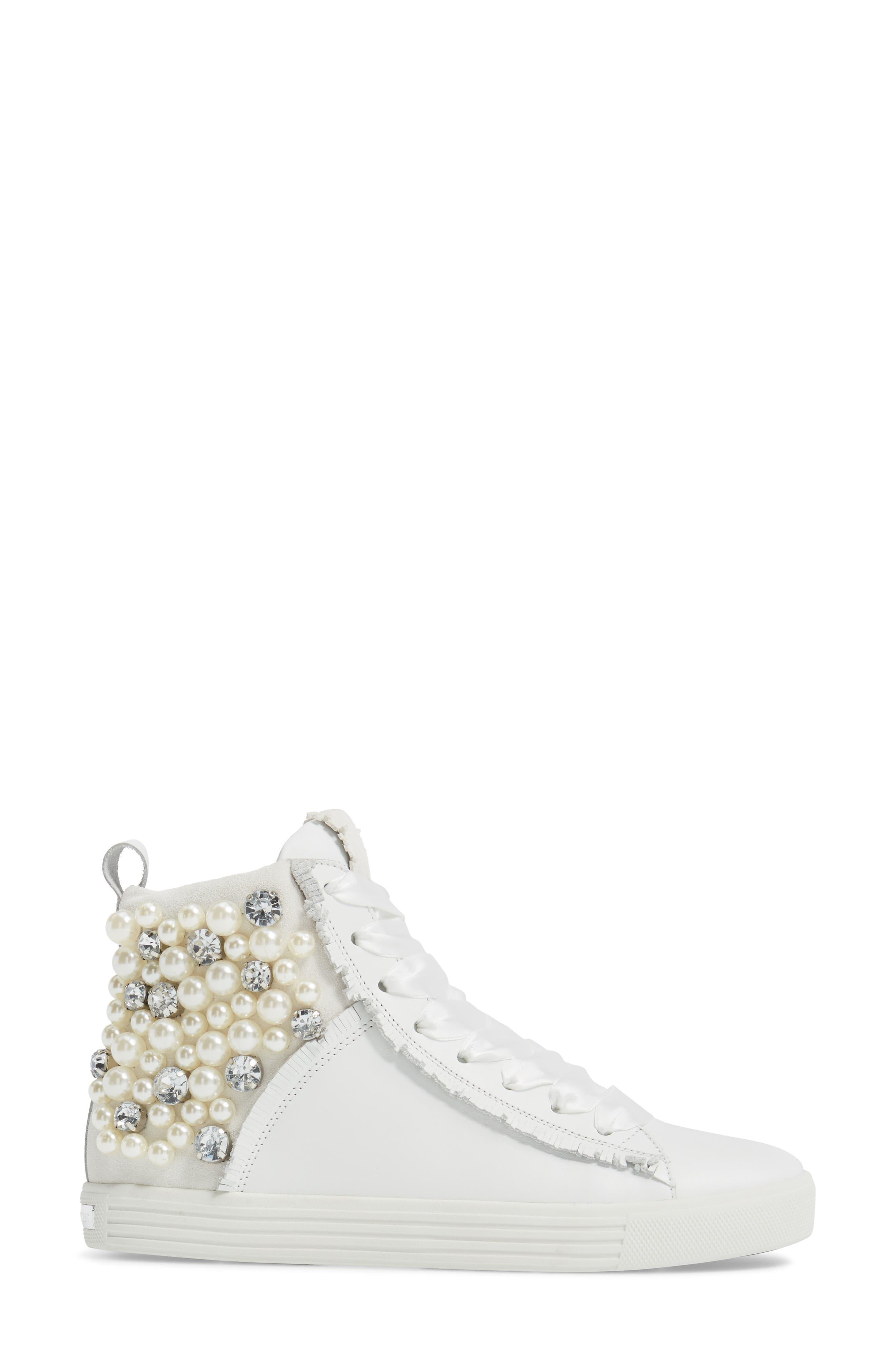 Kennel & Schmenger Town Flower High Top Sneaker,                             Alternate thumbnail 3, color,                             White