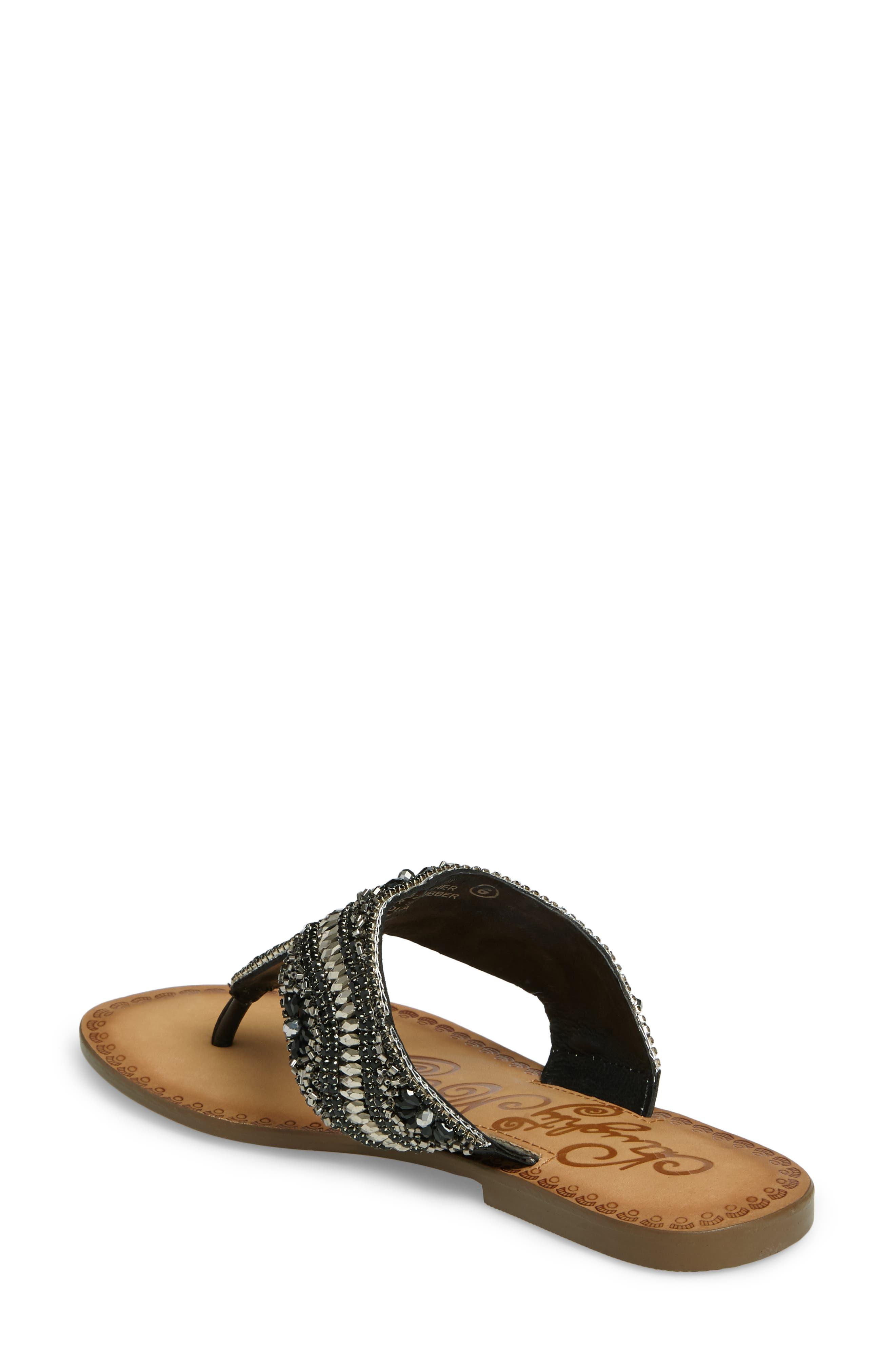 Lizabeth Embellished Sandal,                             Alternate thumbnail 2, color,                             Black Leather